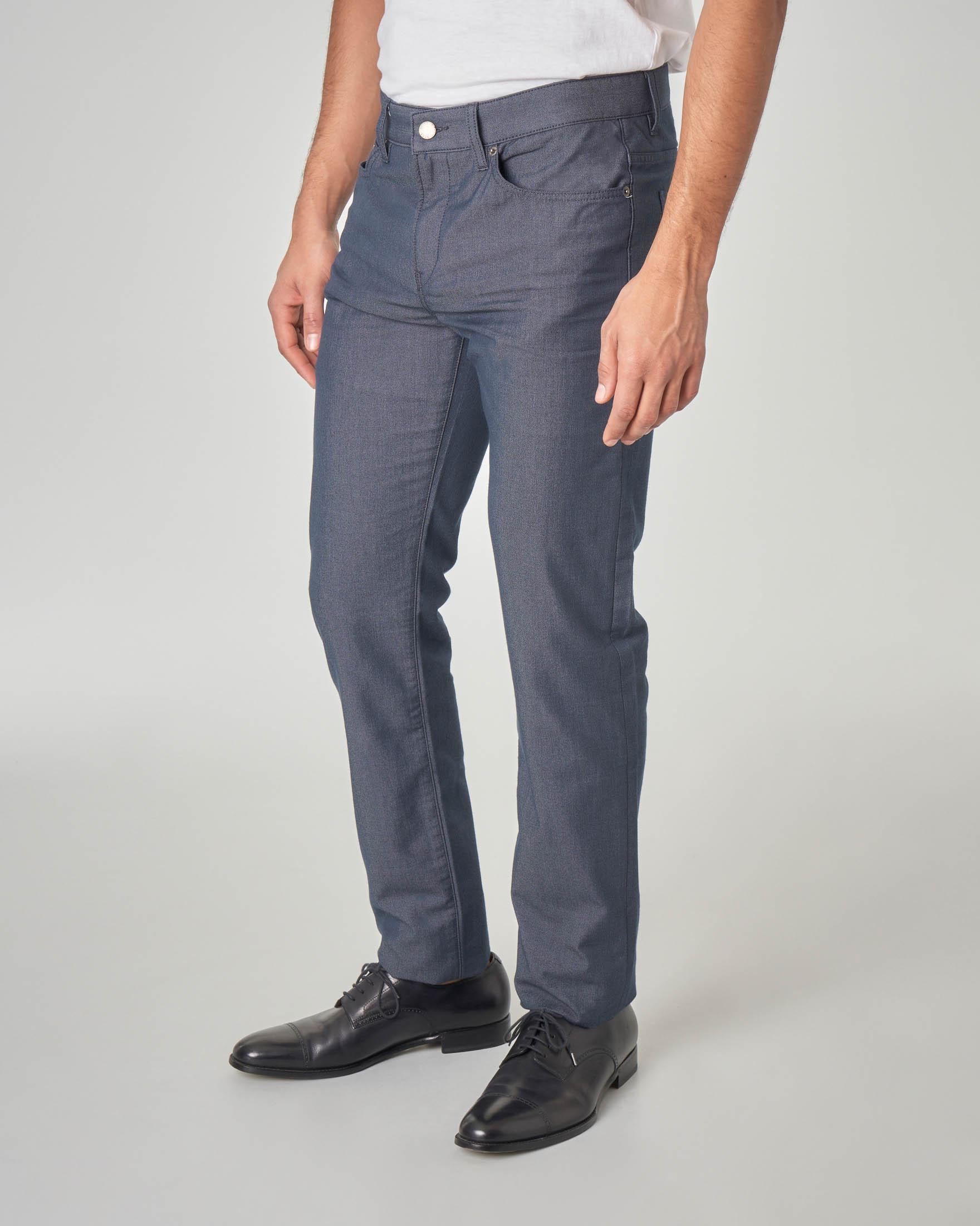 Pantalone blu cinque tasche in pinpoint