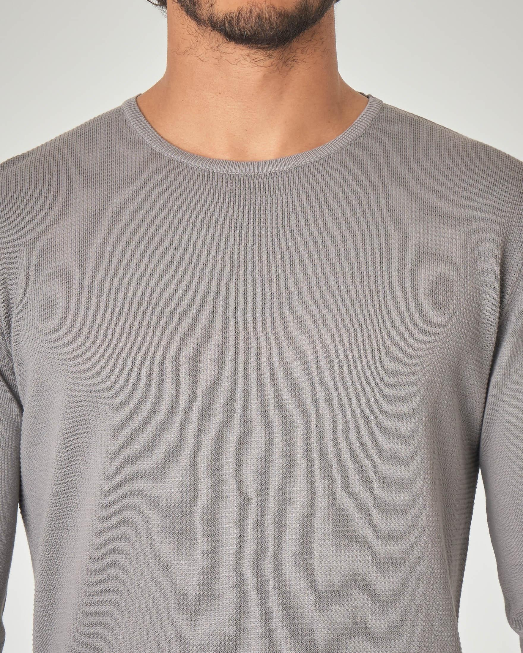 Maglia grigia in cotone con pannello punto mosso