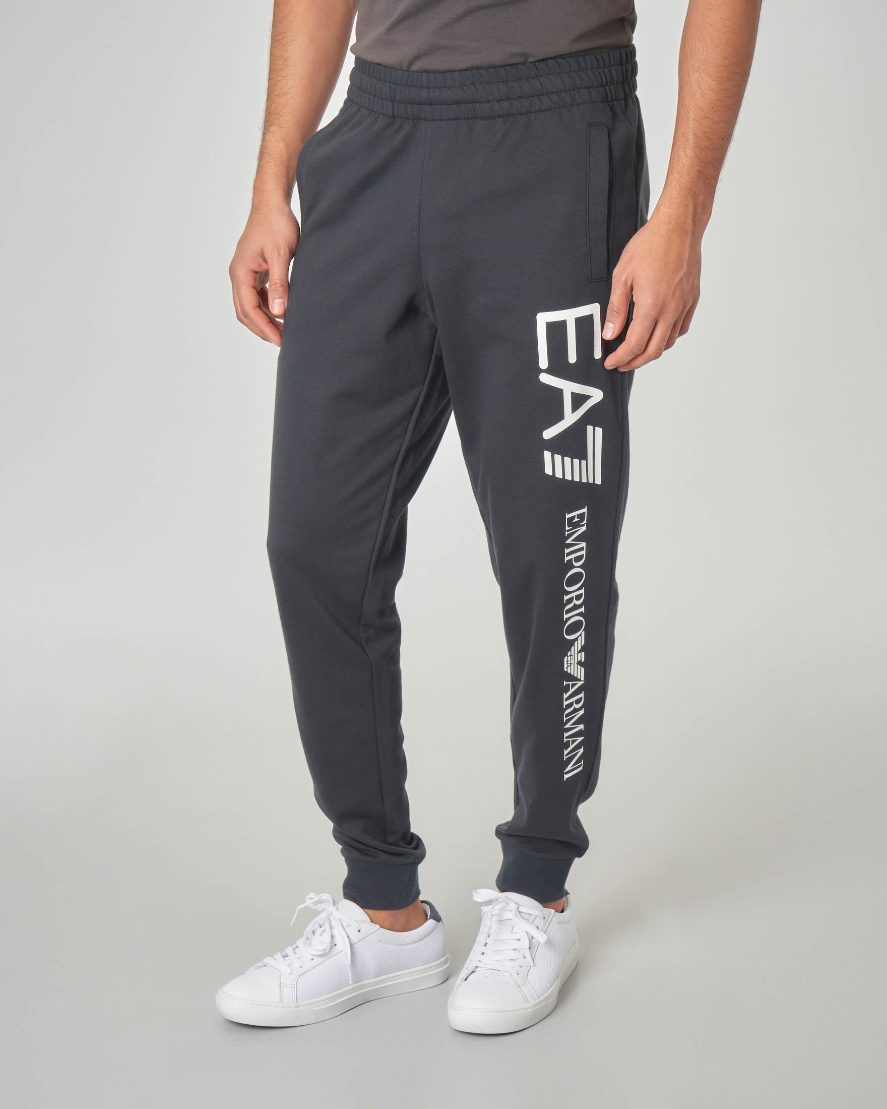 Pantalone blu in felpa con maxi-logo