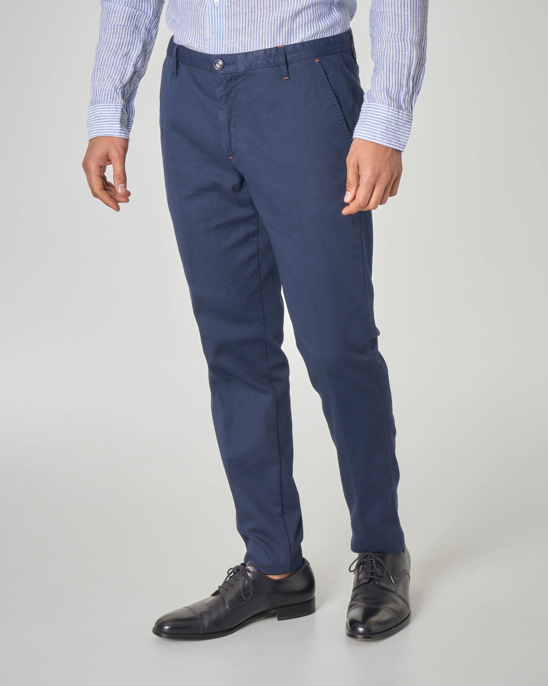 Pantalone chino blu micro-rombetto