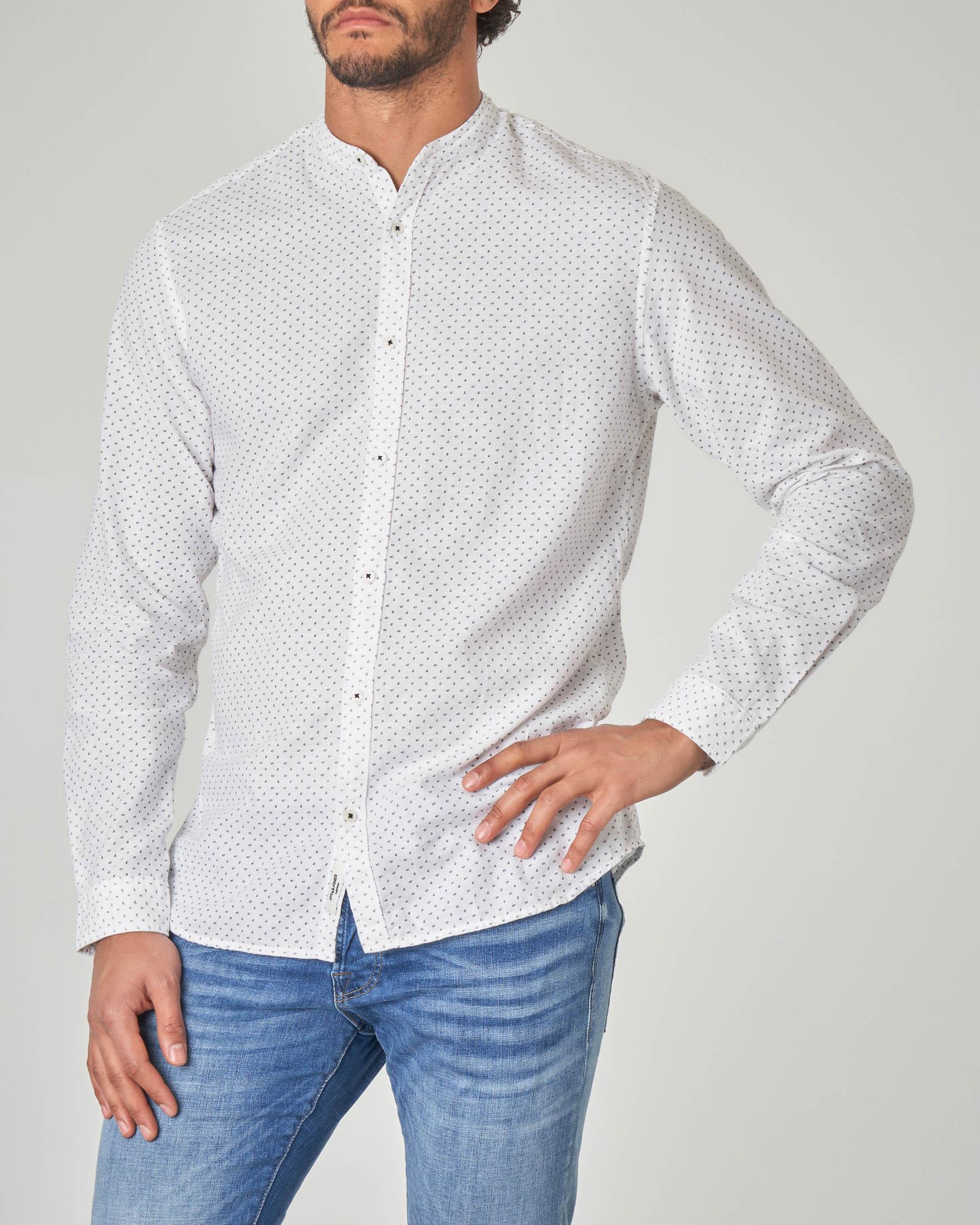Camicia bianca coreana in fantasia stampata