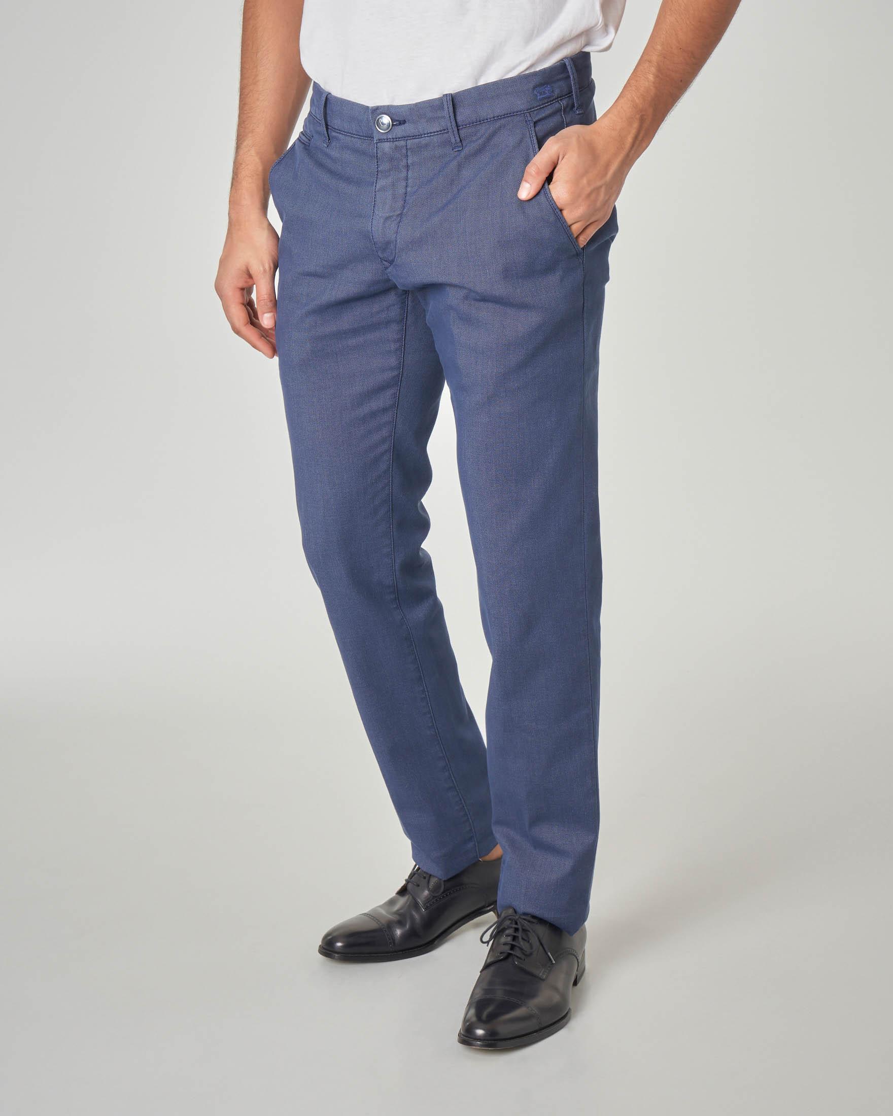Pantalone chino blu puntaspillo