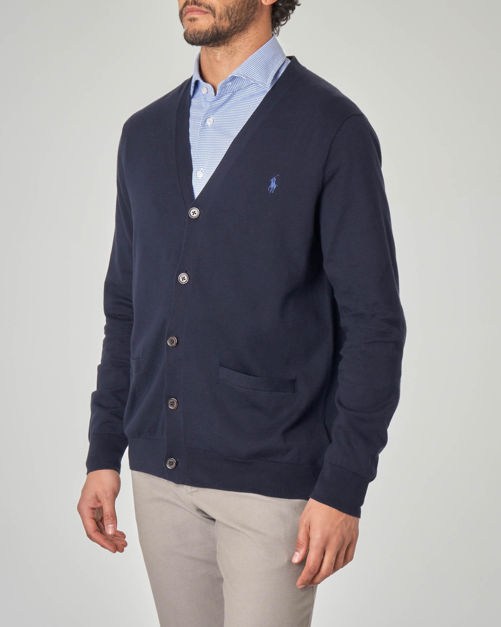 Cardigan blu con taschino