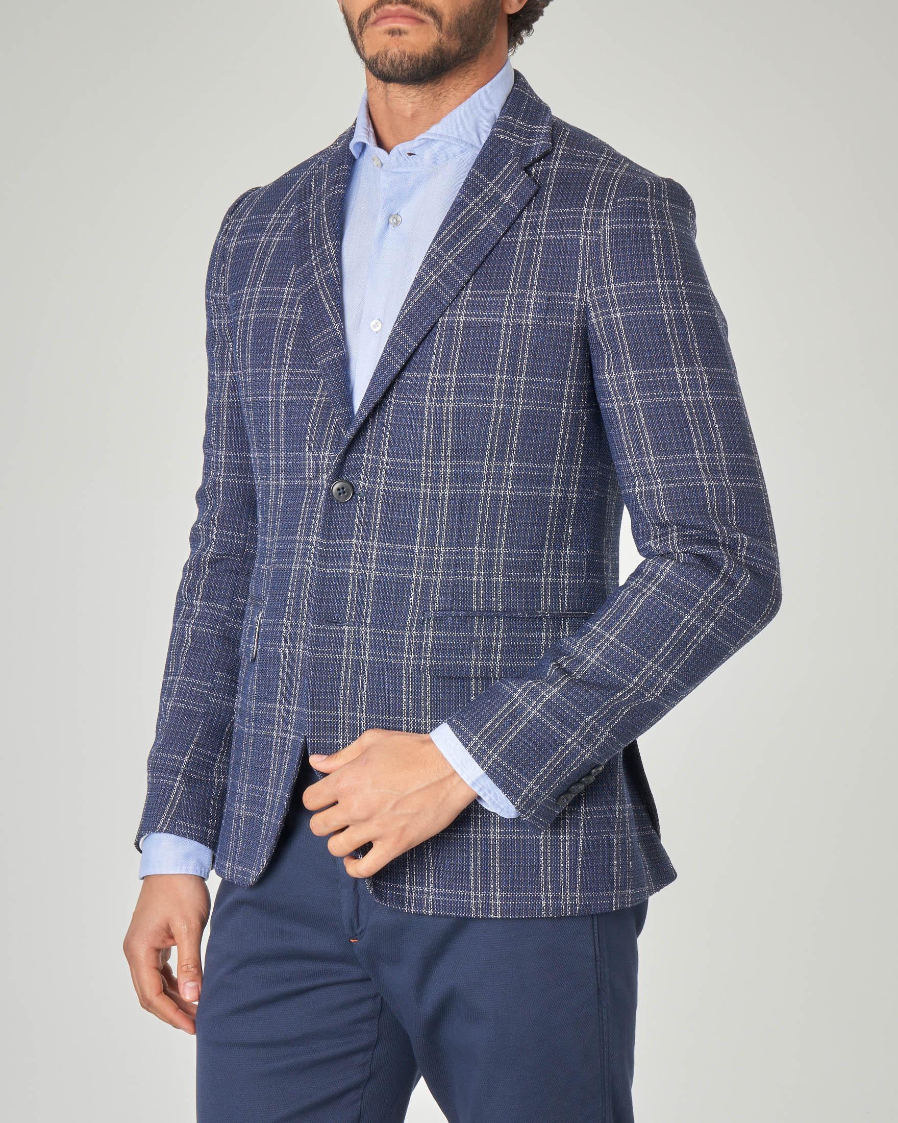 Blazer blu in lana e cotone a quadri