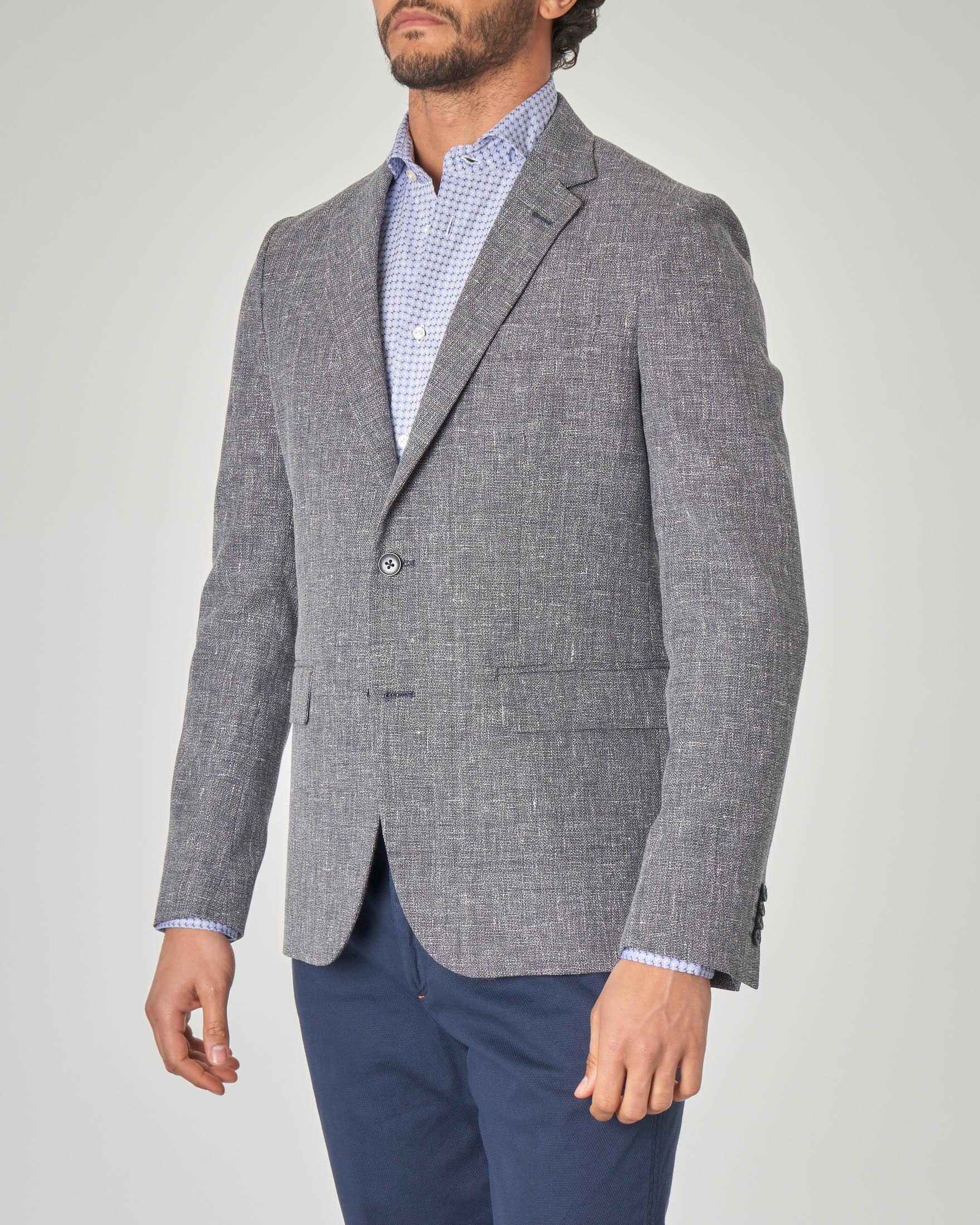 Blazer blu in misto lana e lino