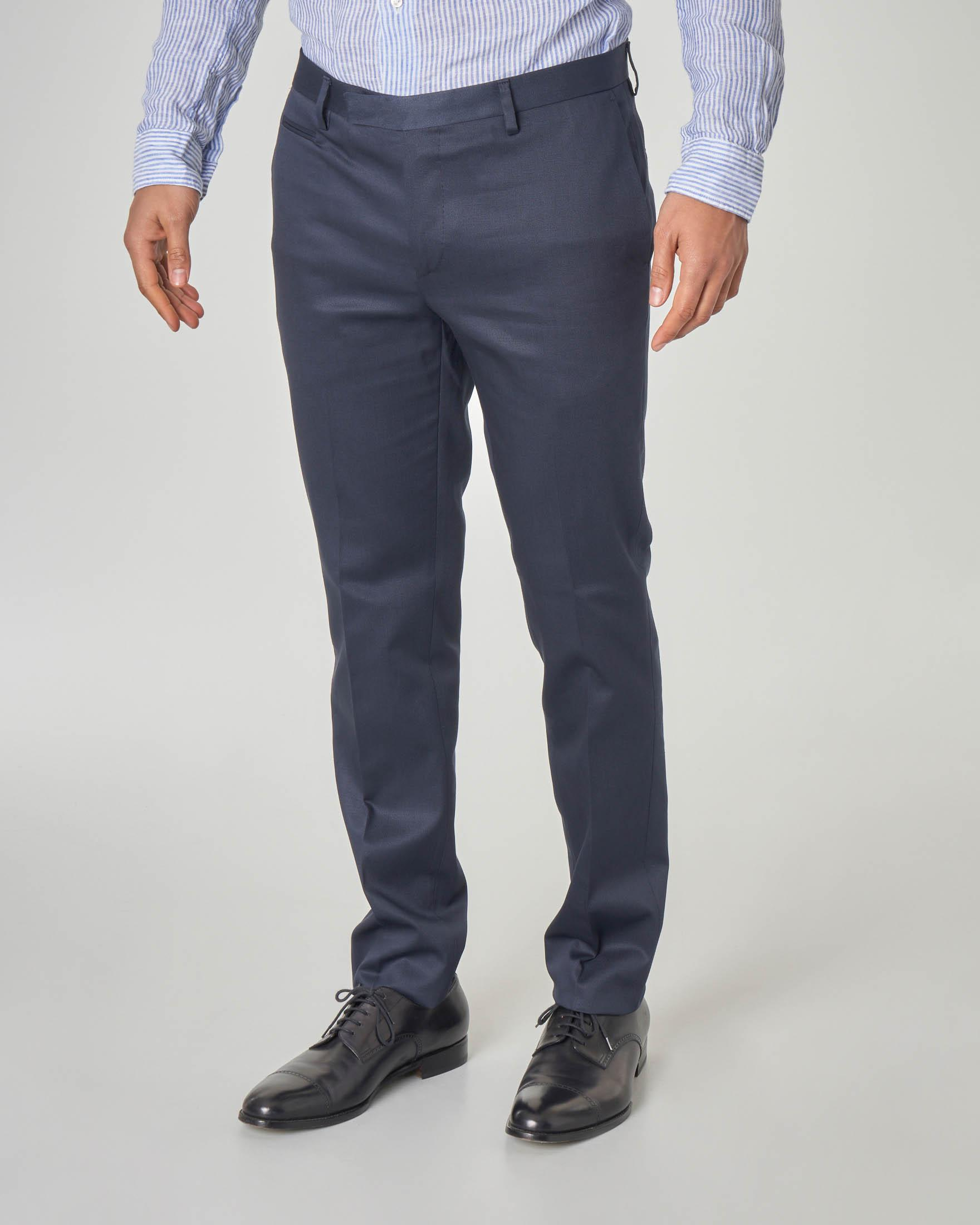 Pantalone blu in cotone stretch