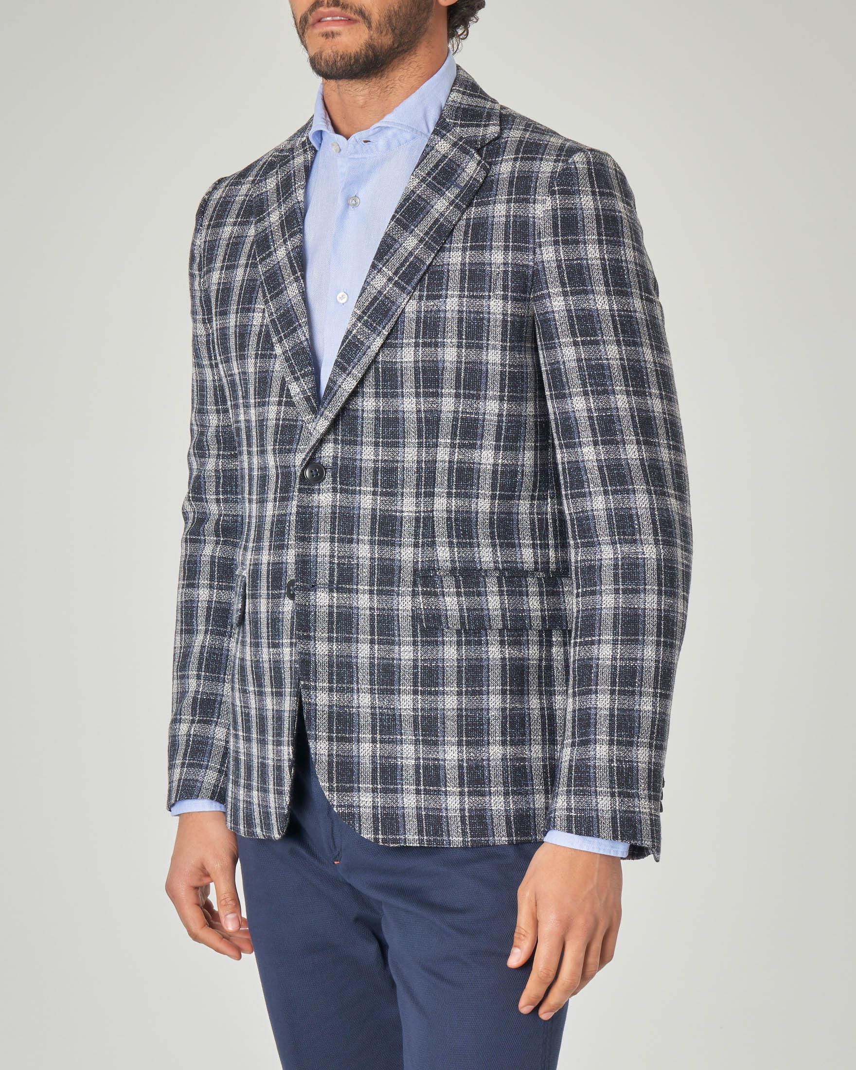 Blazer blu in lana e cotone a quadri blu e grigi