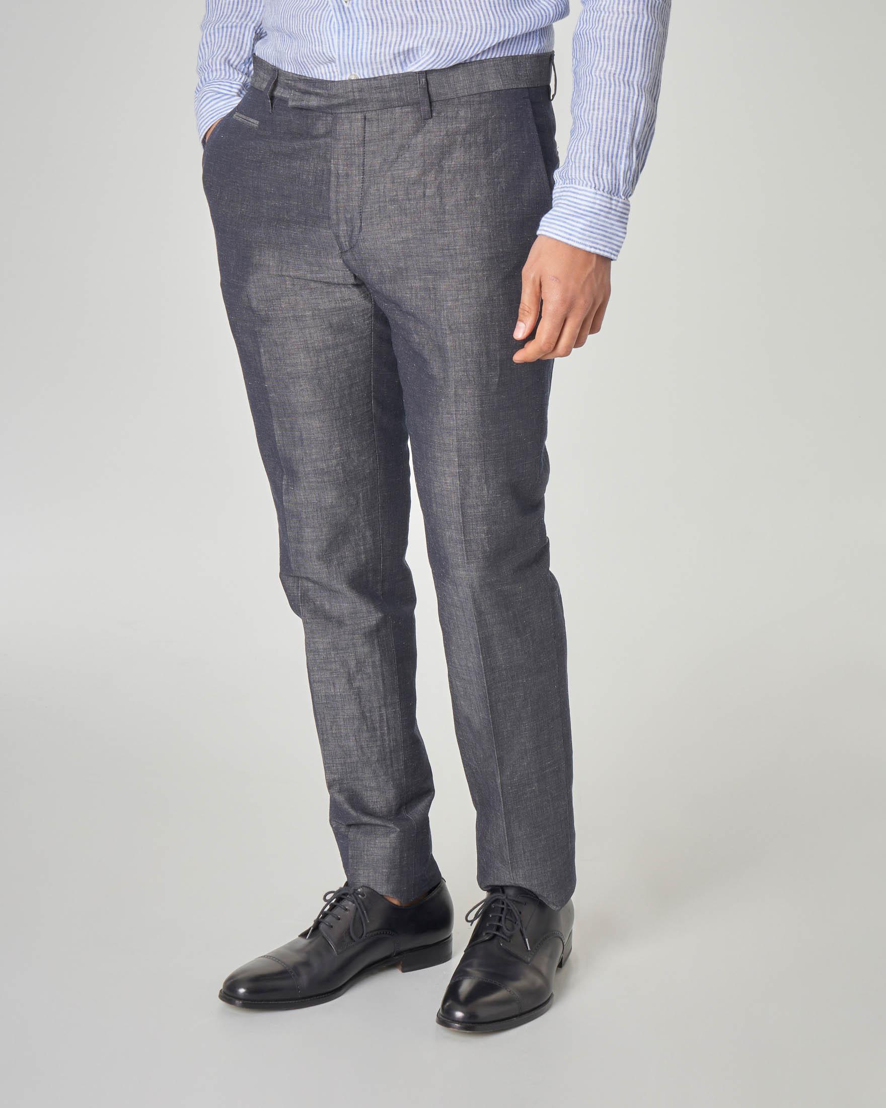 Pantalone grigio in cotone e lino