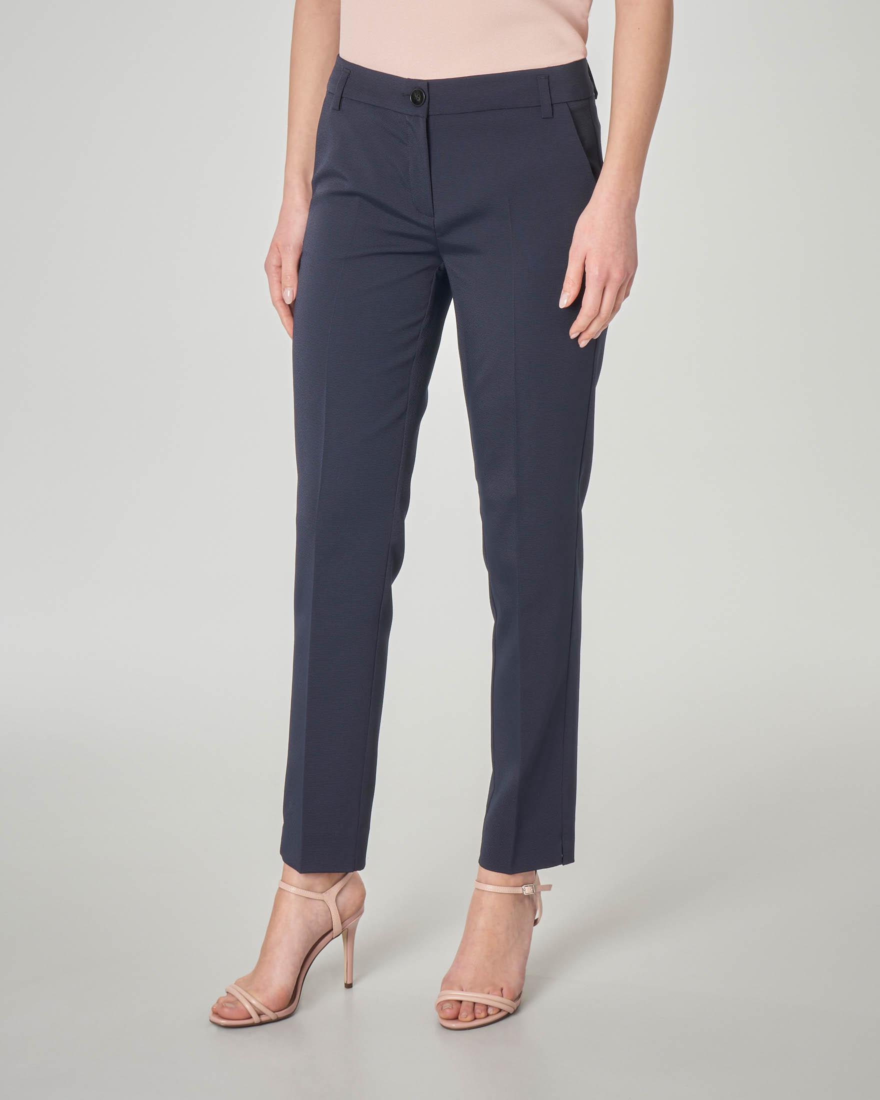 Pantaloni dritti alla caviglia blu in tessuto a micro costine