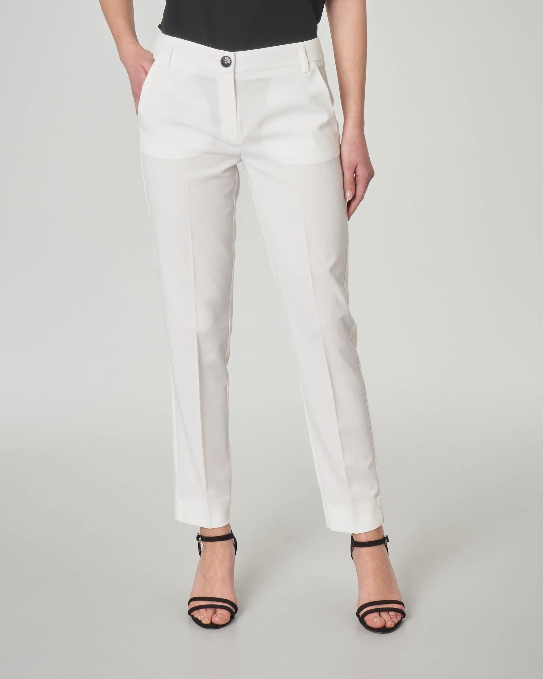 Pantaloni dritti alla caviglia bianchi in tessuto a micro costine