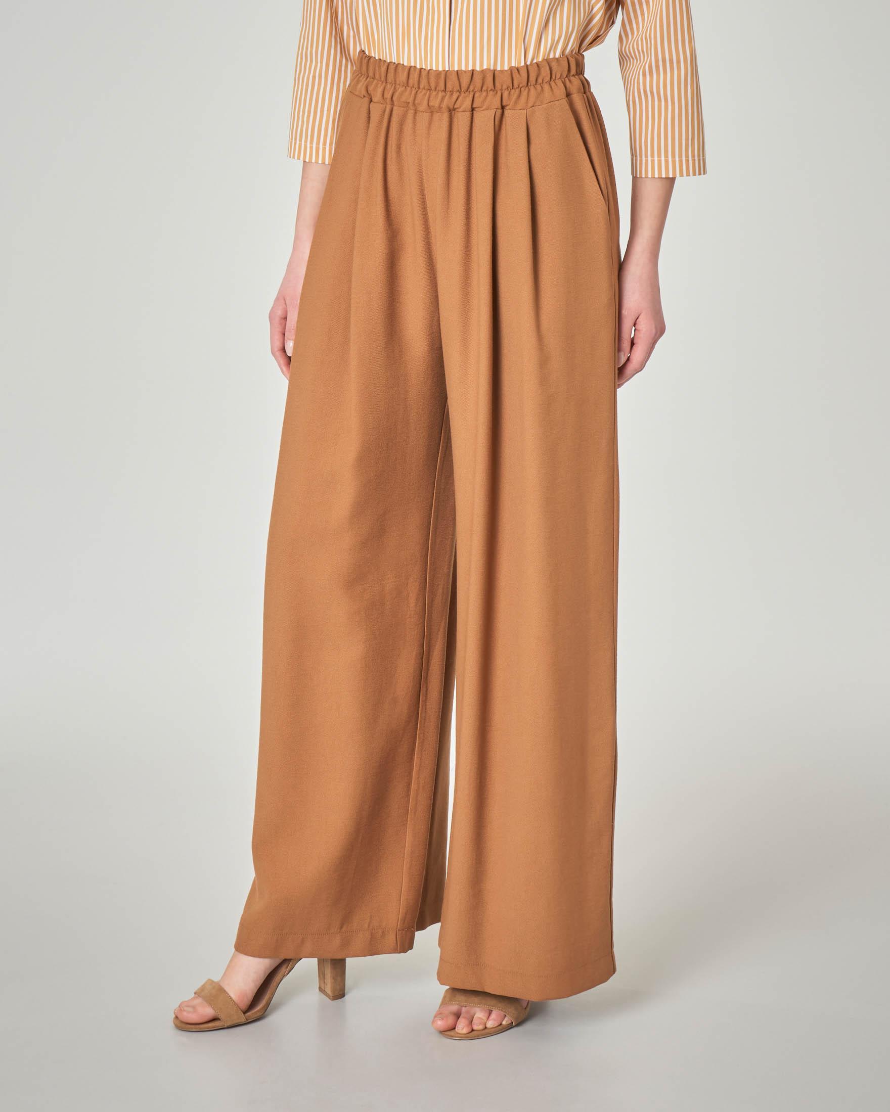 Pantaloni palazzo color coccio in misto viscosa con elastico in vita
