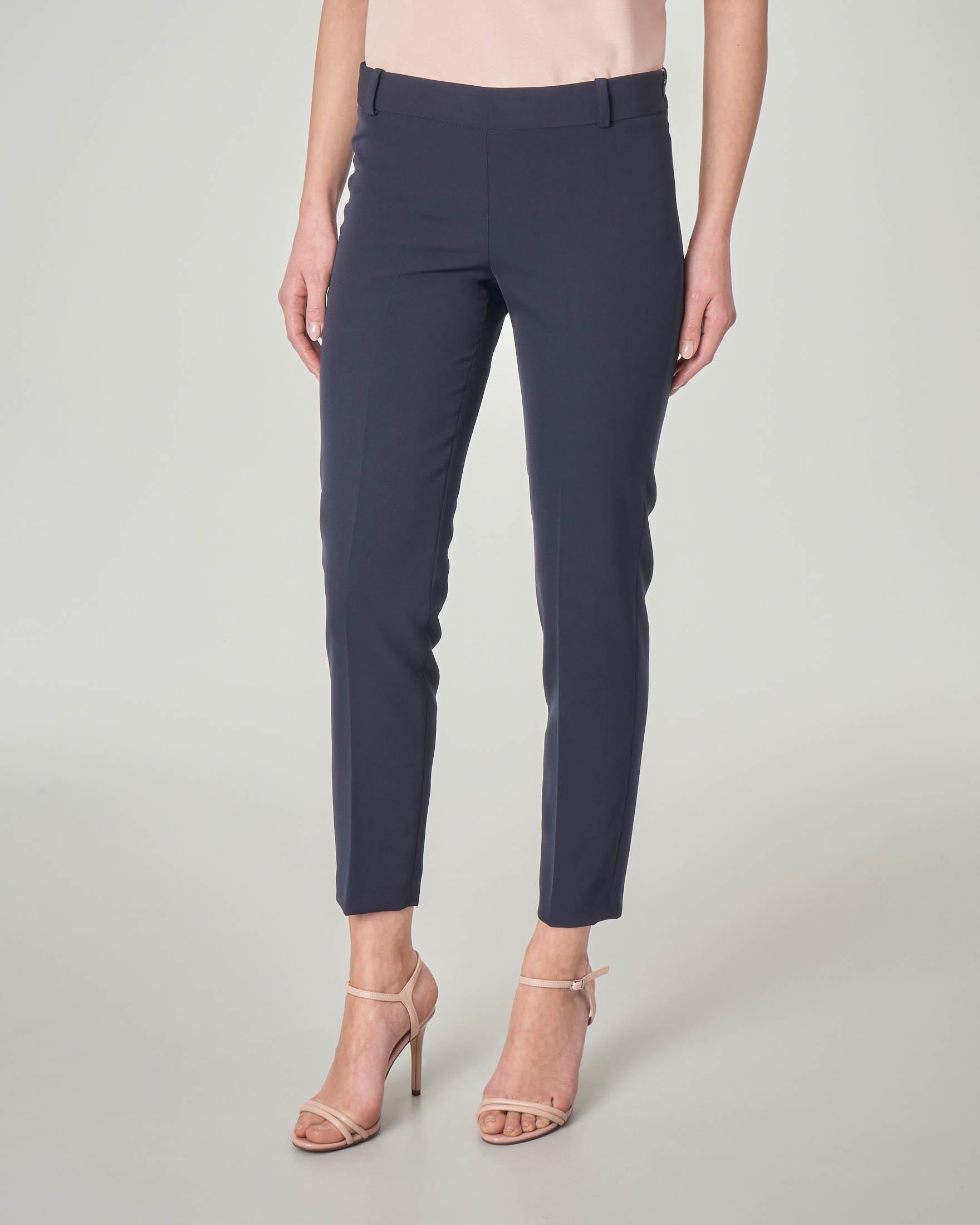 Pantalone blu in cady lunghezza alla caviglia