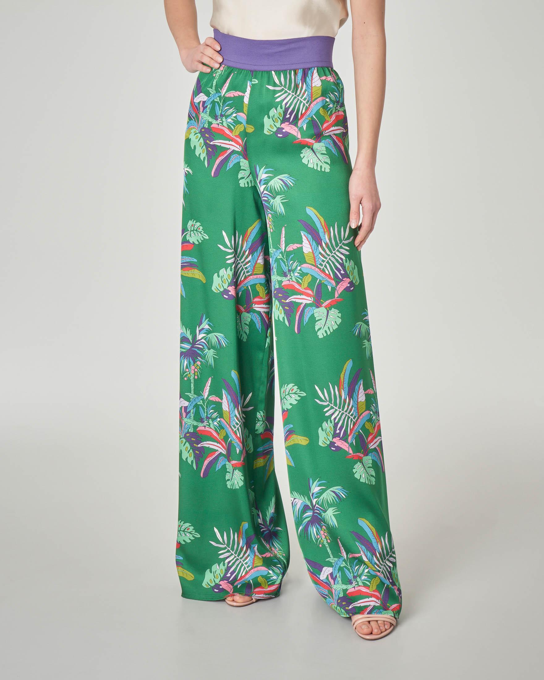 Pantaloni palazzo verdi stampa tropicale con fascia elastica in vita