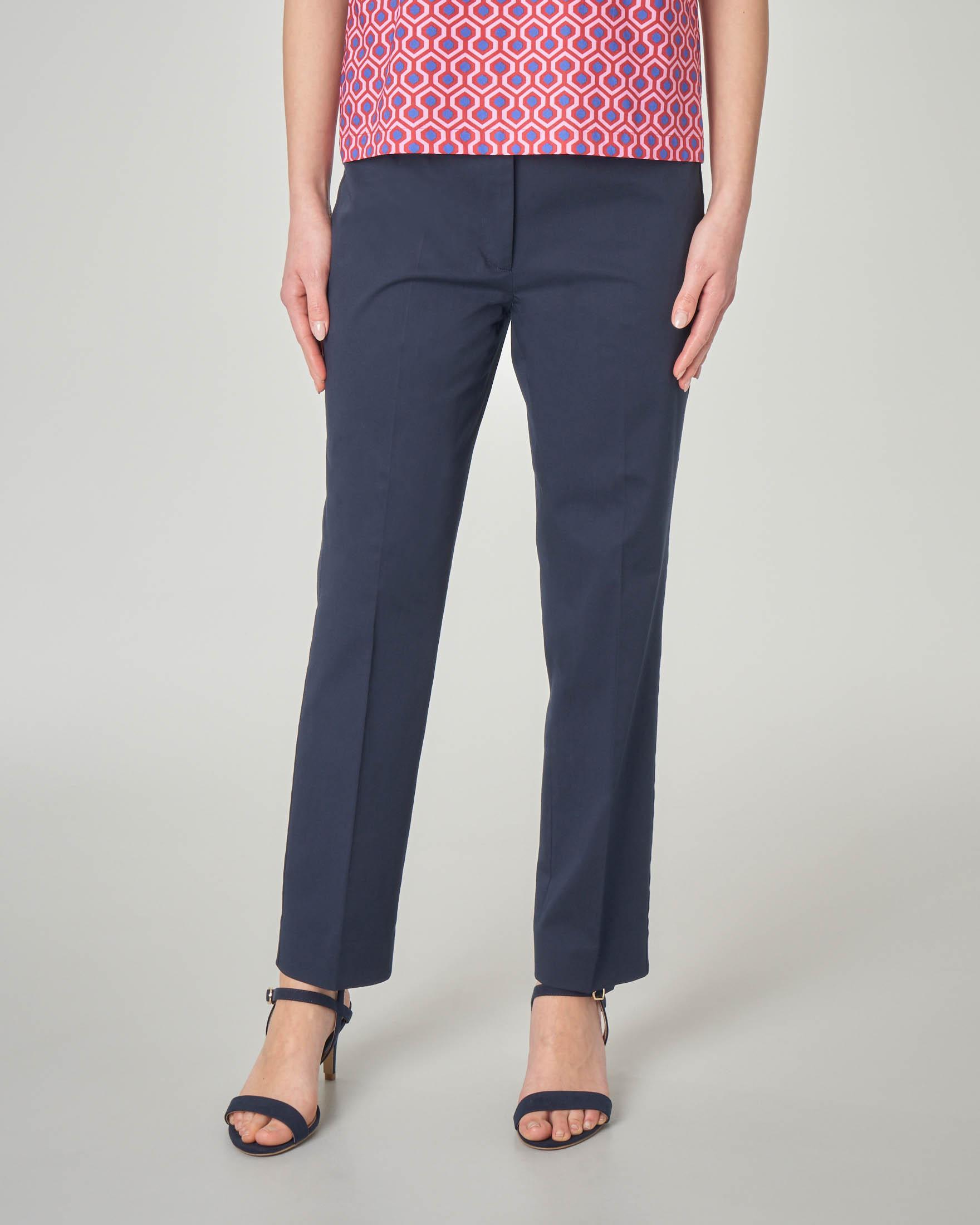 Pantaloni straight blu in cotone elasticizzato
