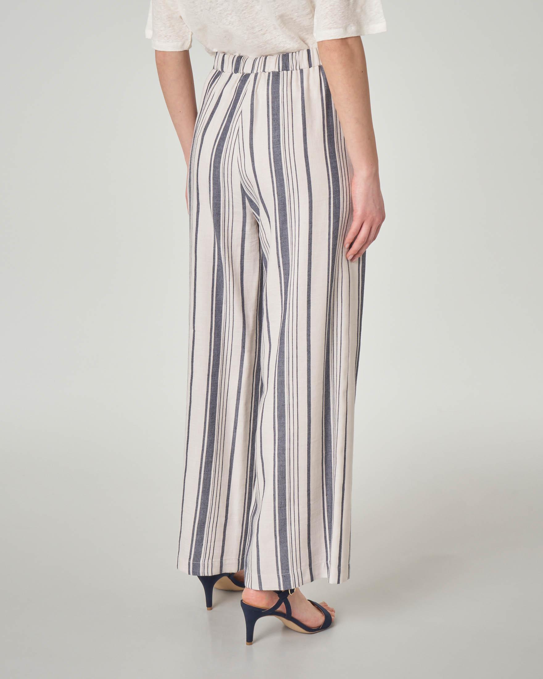 Pantaloni palazzo in raso di lino e cotone a righe bianche e blu con elastico in vita