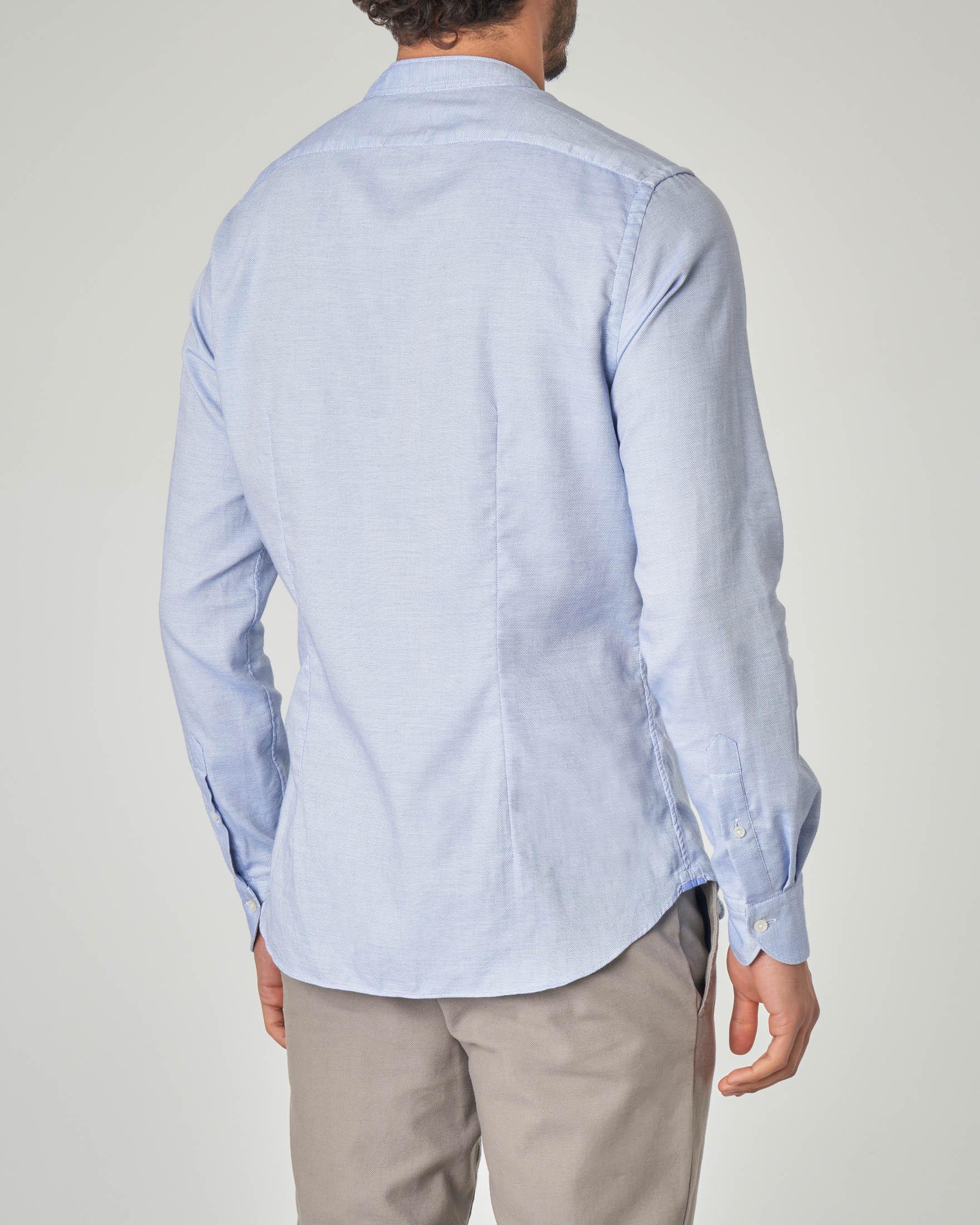 Camicia azzurra coreana micro-armatura