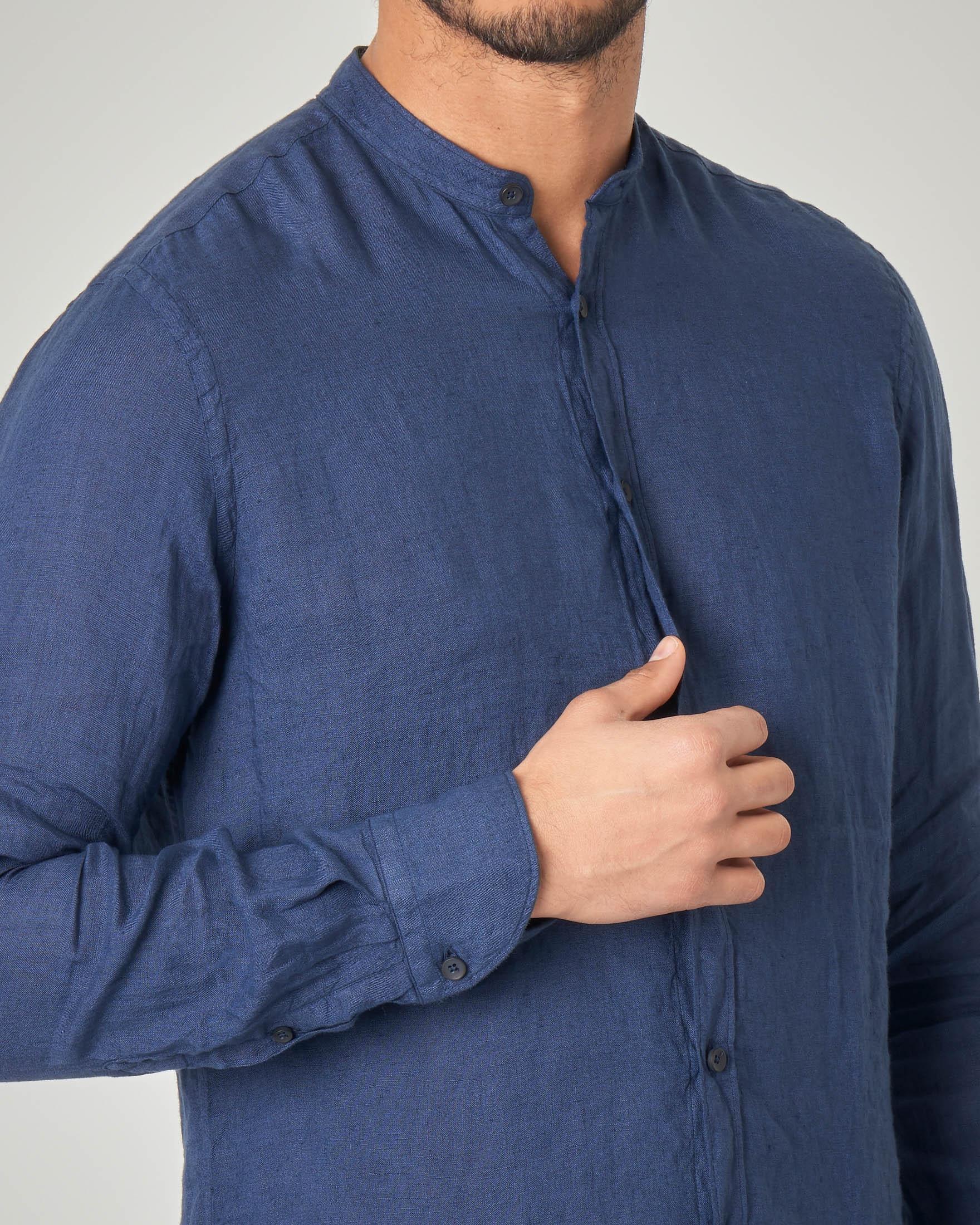 Camicia blu coreana in lino