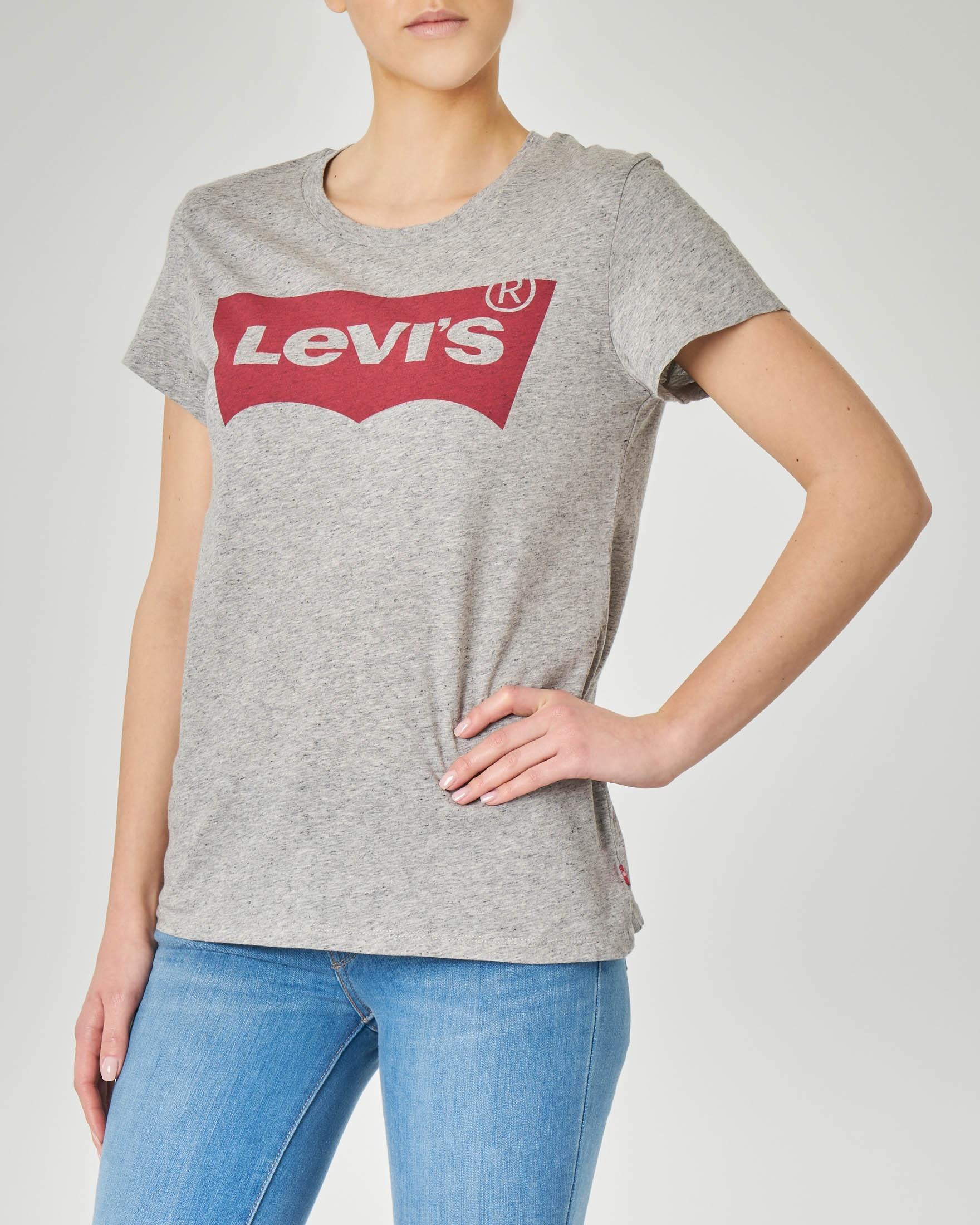 T-shirt grigia manica corta con logo