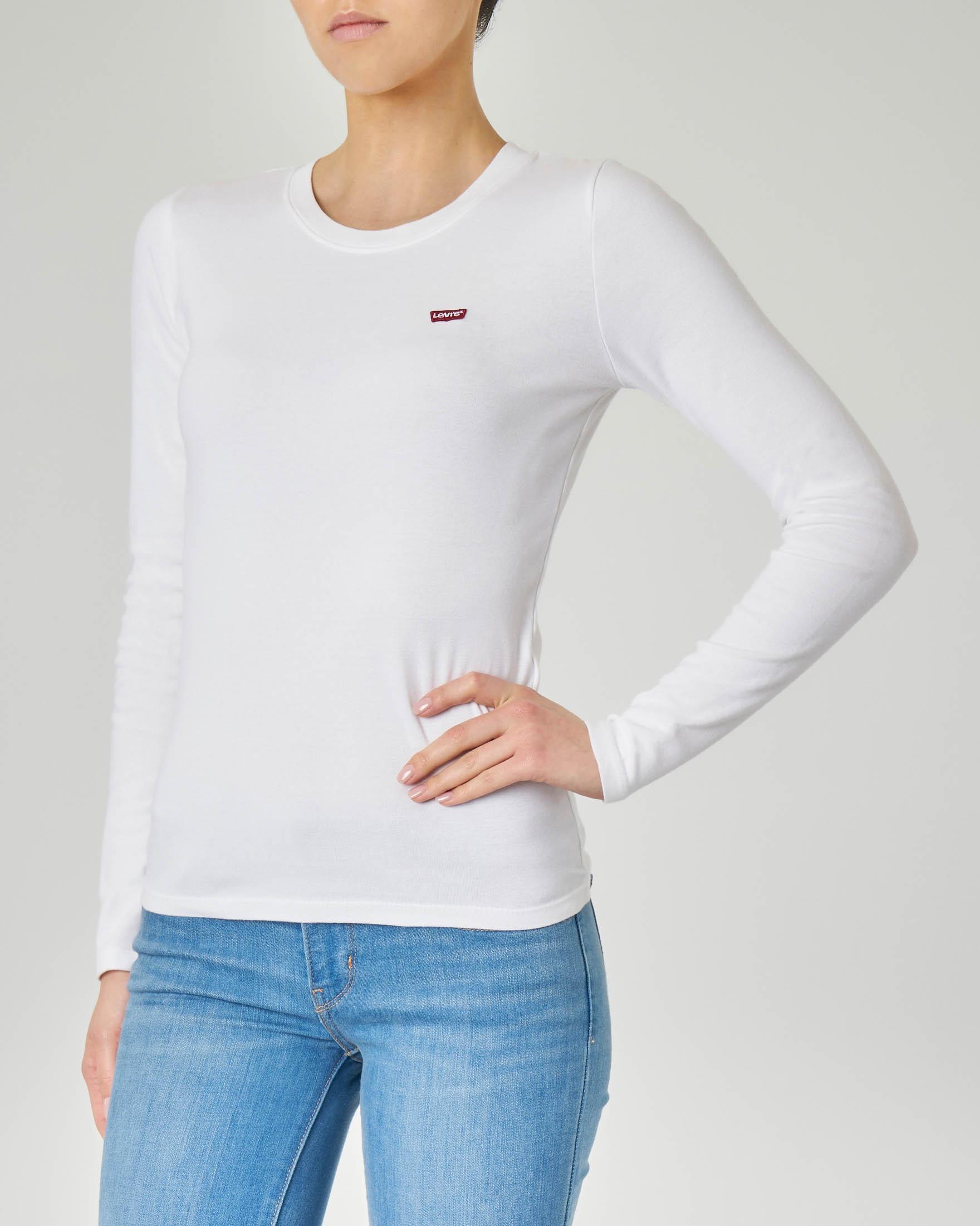 T-shirt bianca manica lunga con logo
