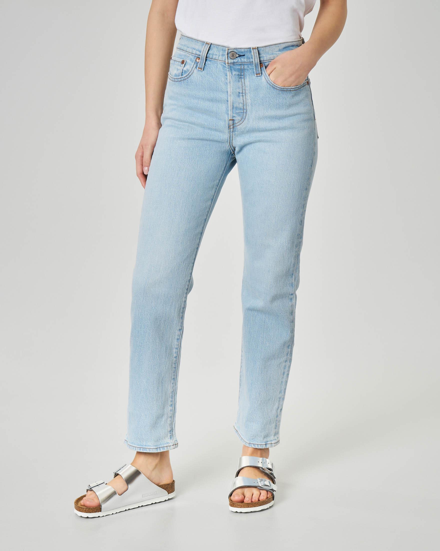 Jeans straight blu délavé a vita media lunghezza alla caviglia