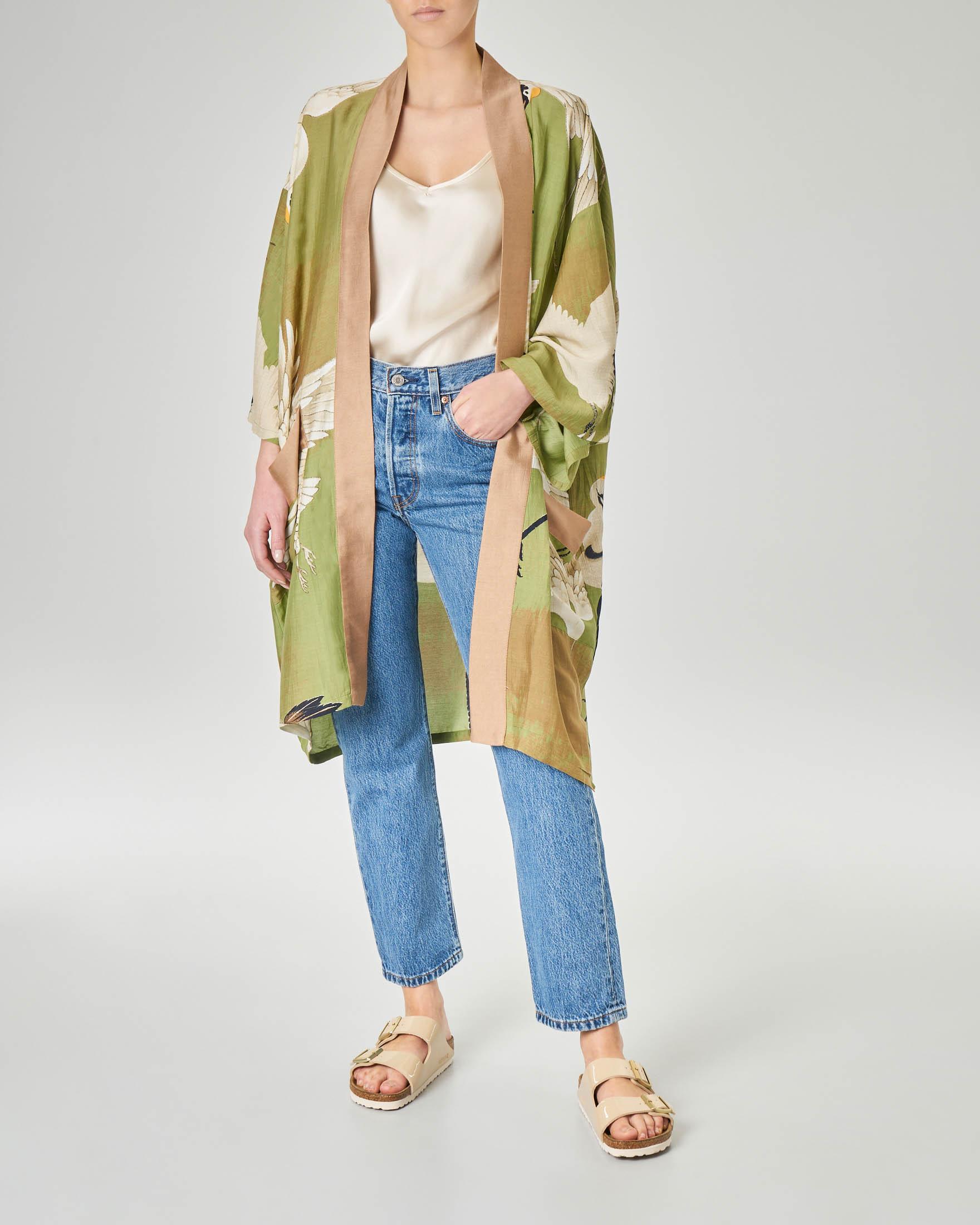 Kimono verde in viscosa misto modal con stampa cicogne