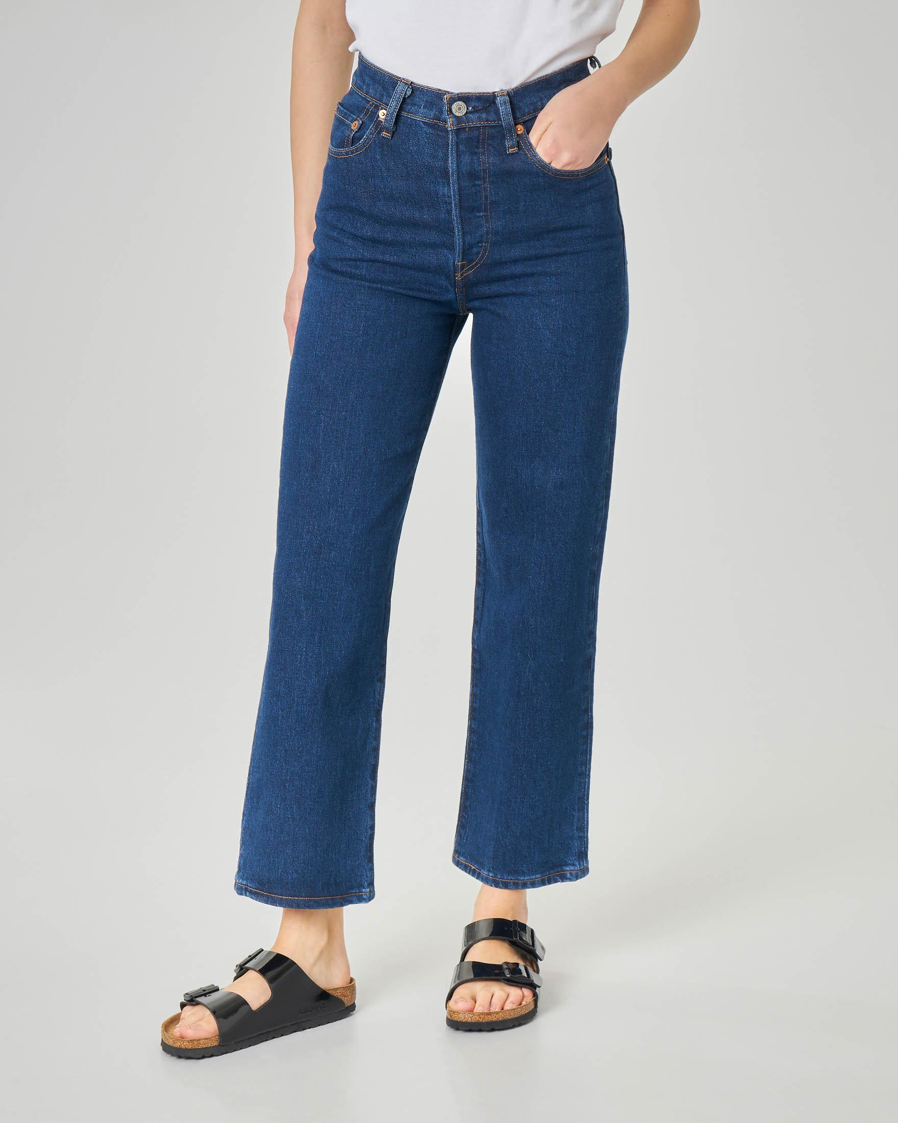 Jeans Ribcage a vita alta blu stone washed