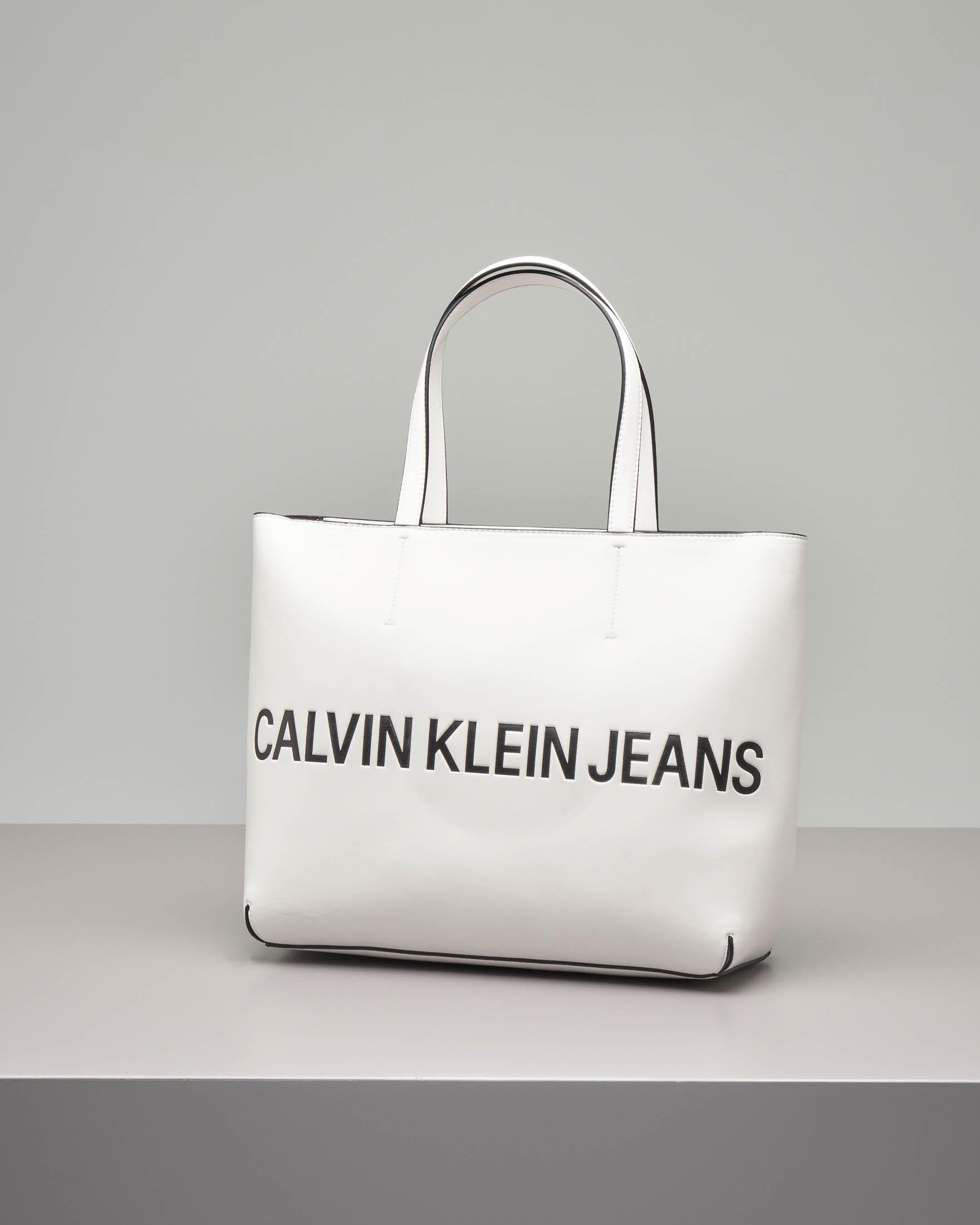 Shopping bag bianca in ecopelle misura grande modello rigido con scritta logo nera