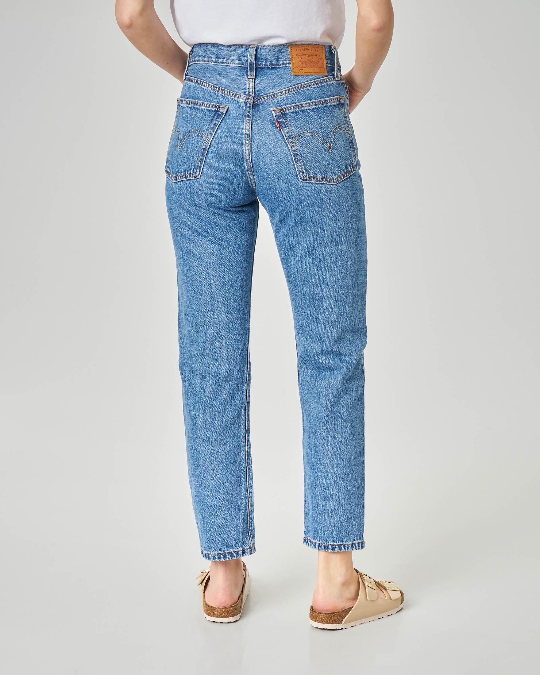 Jeans 501 blu super stone washed lunghezza alla caviglia