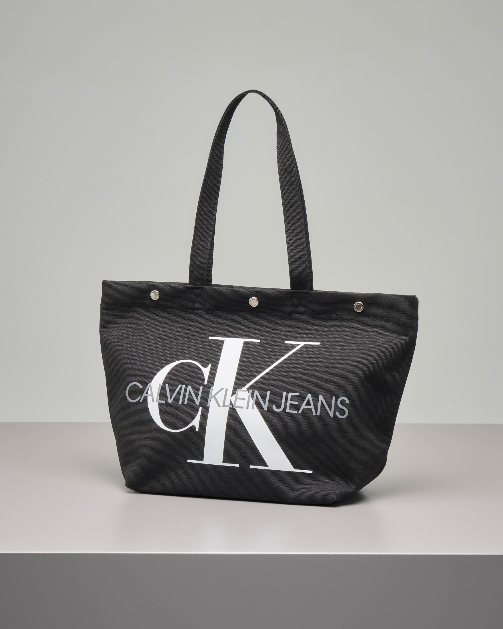 Shopping bag nera in canvas con logo a contrasto