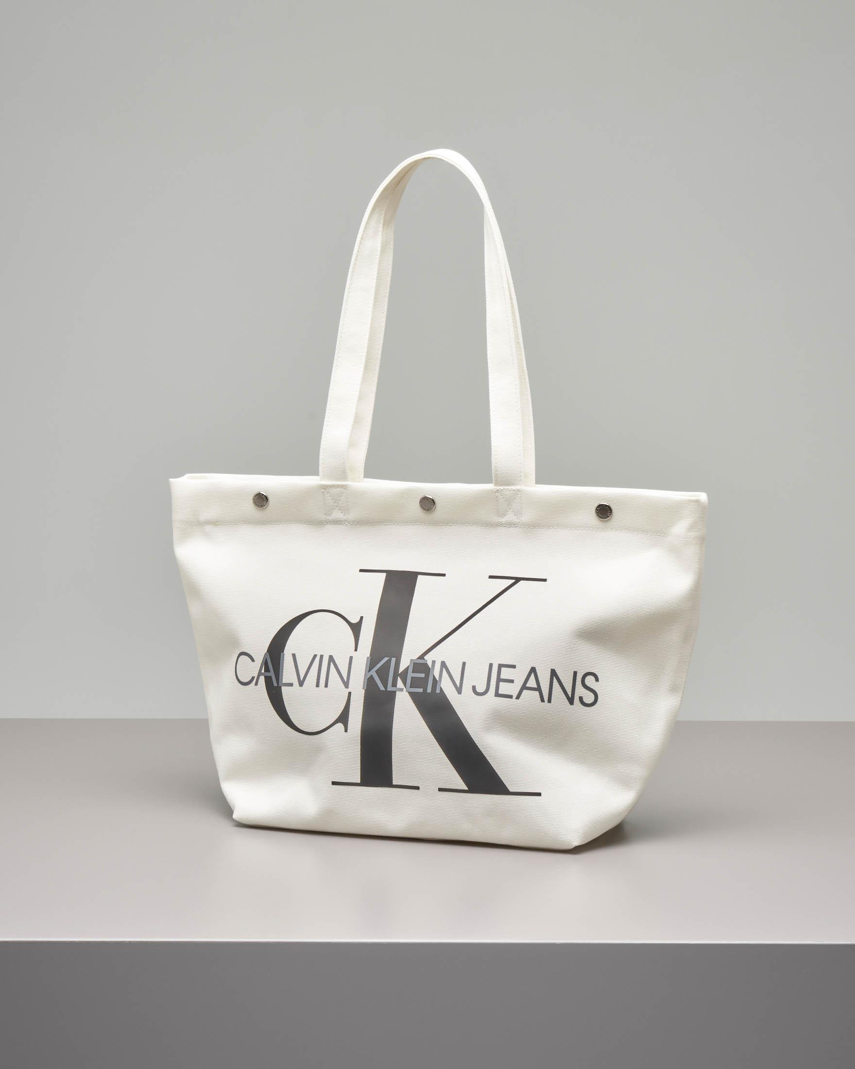 Shopping bag bianca in canvas con logo a contrasto