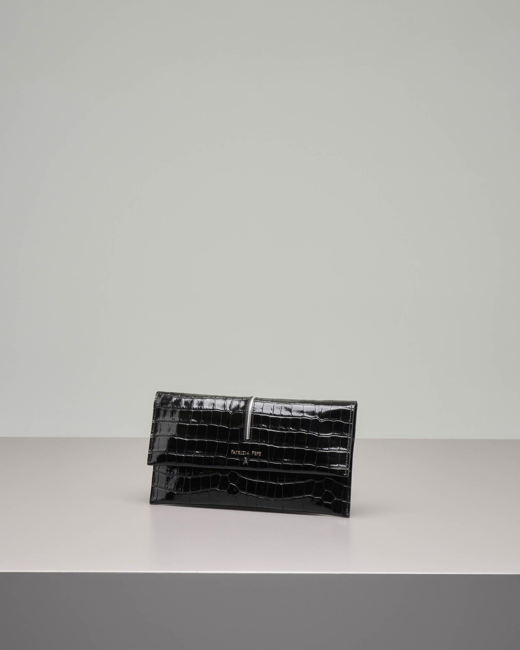 Pochette nera stampa cocco con patella e dettagli argento