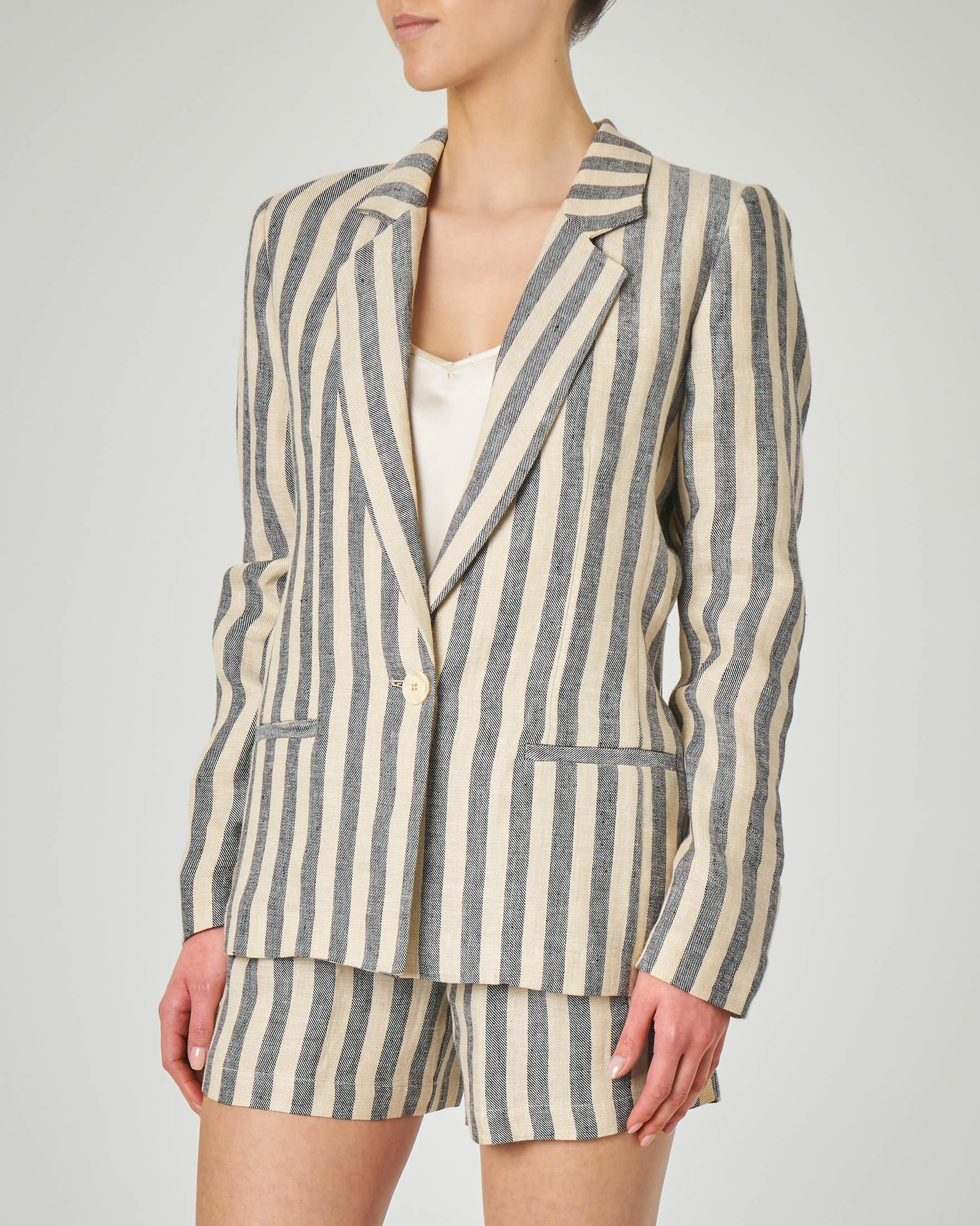 Blazer a un bottone in lino a righe beige e blu