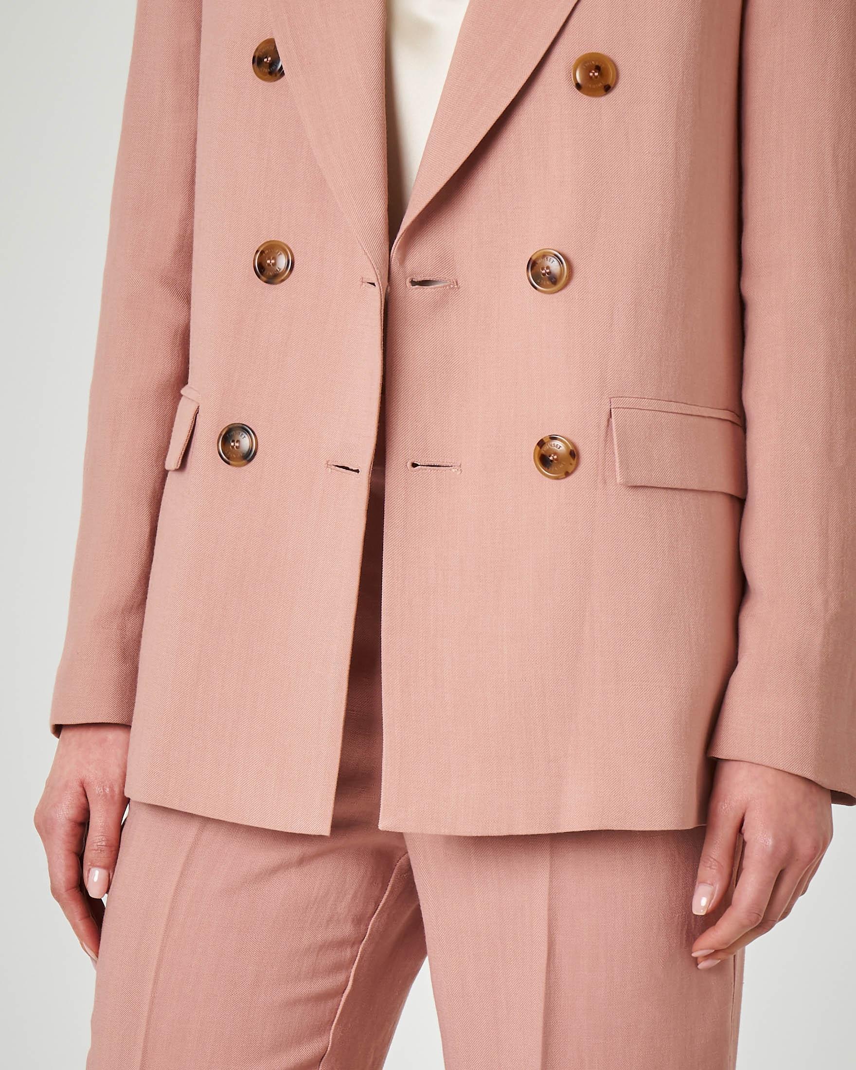Giacca doppiopetto rosa in lino