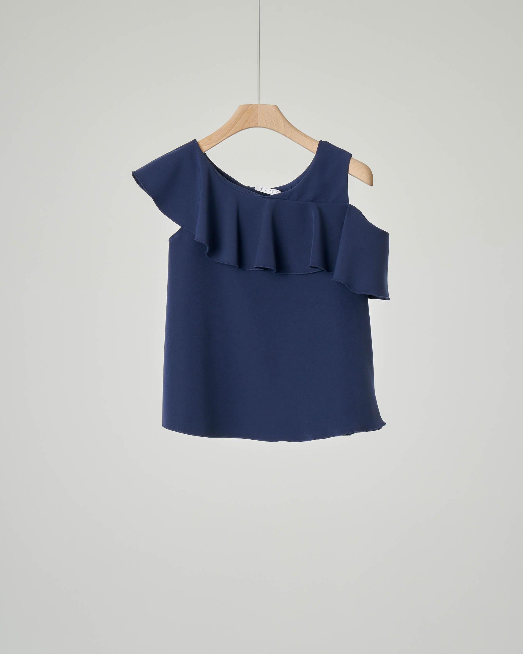 Camicia blu con volant