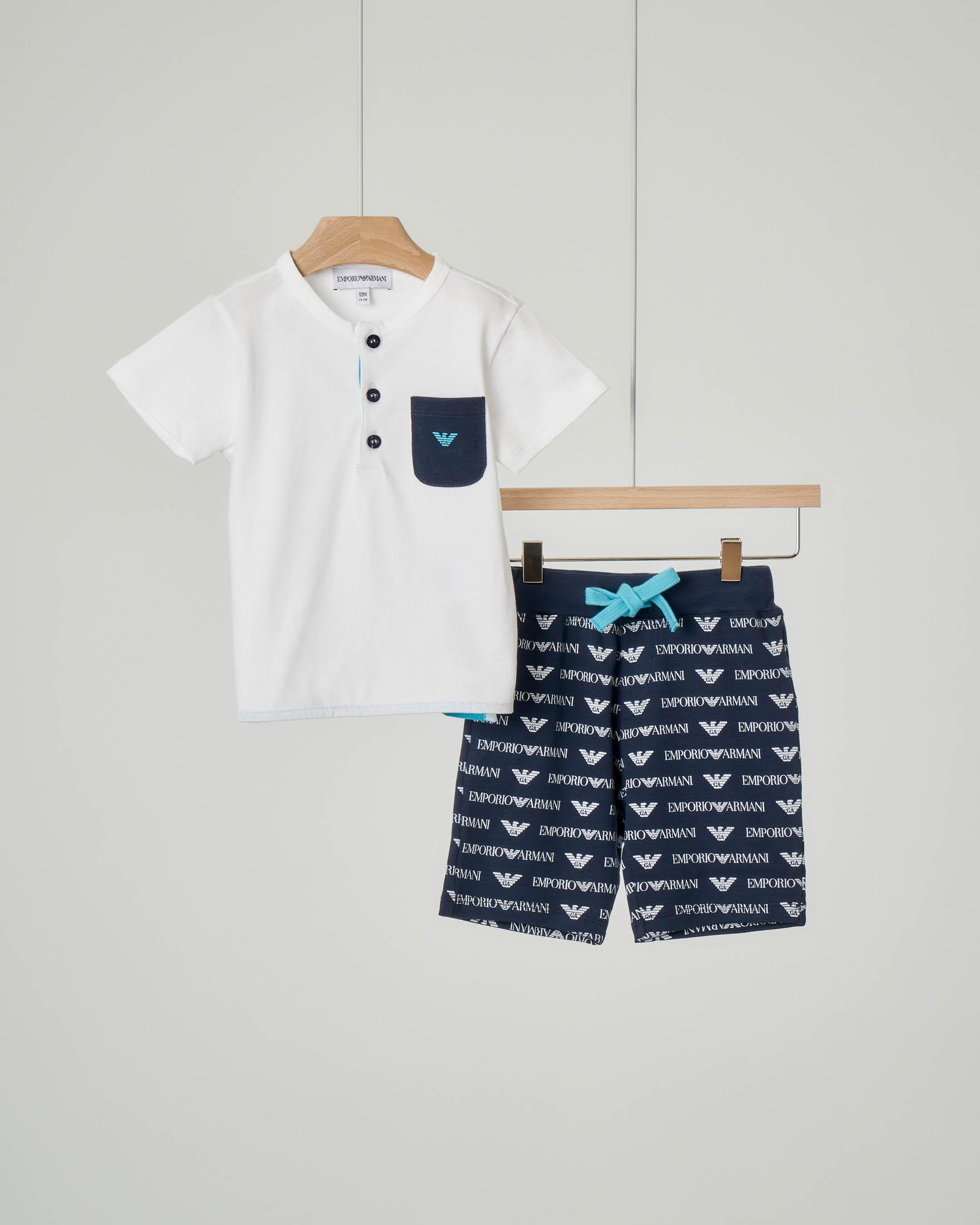 Completo t-shirt e bermuda in jersey di cotone