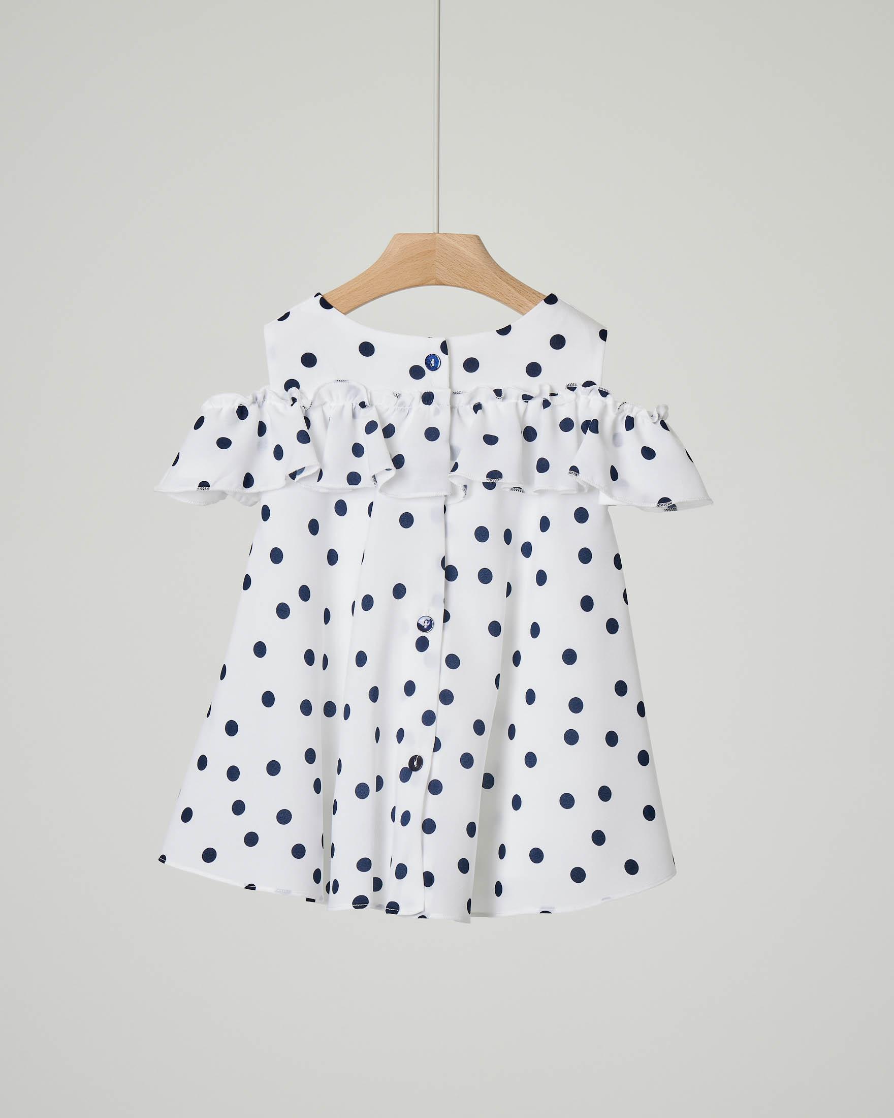 Camicia bianca a pois blu