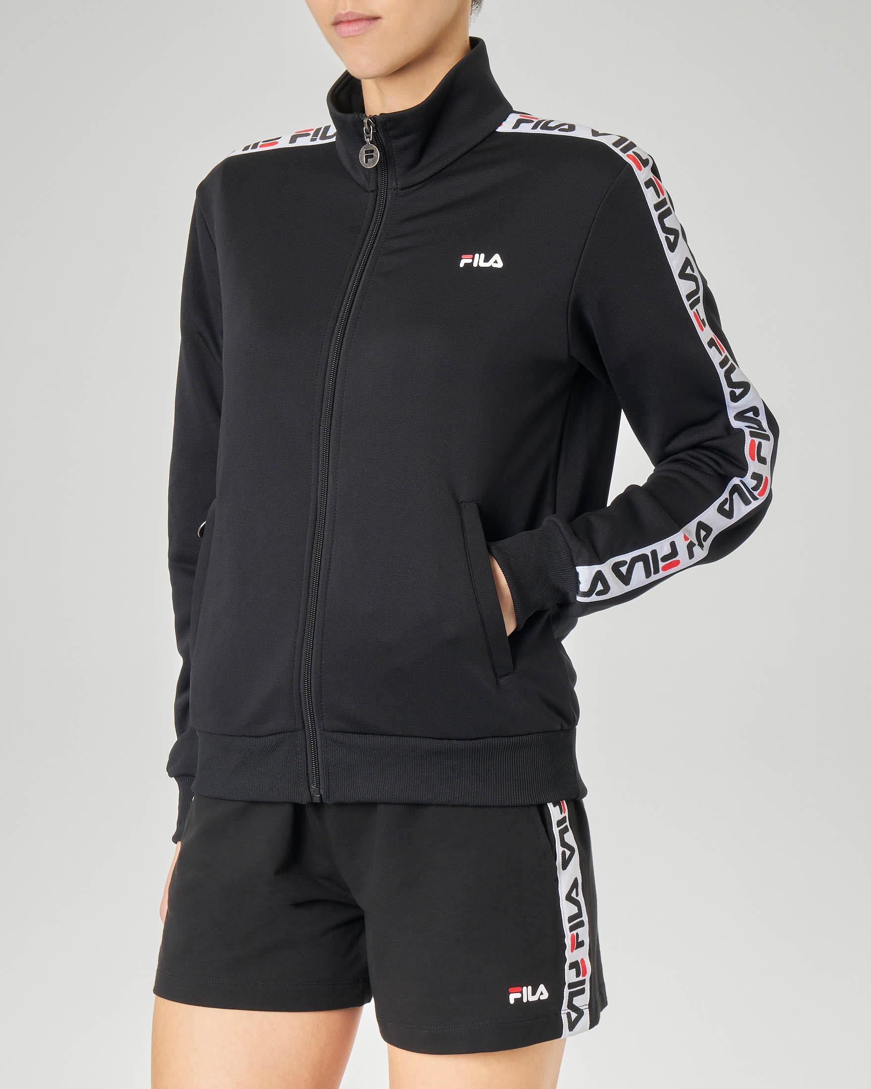 Felpa nera con zip e bande laterali con logo a contrasto