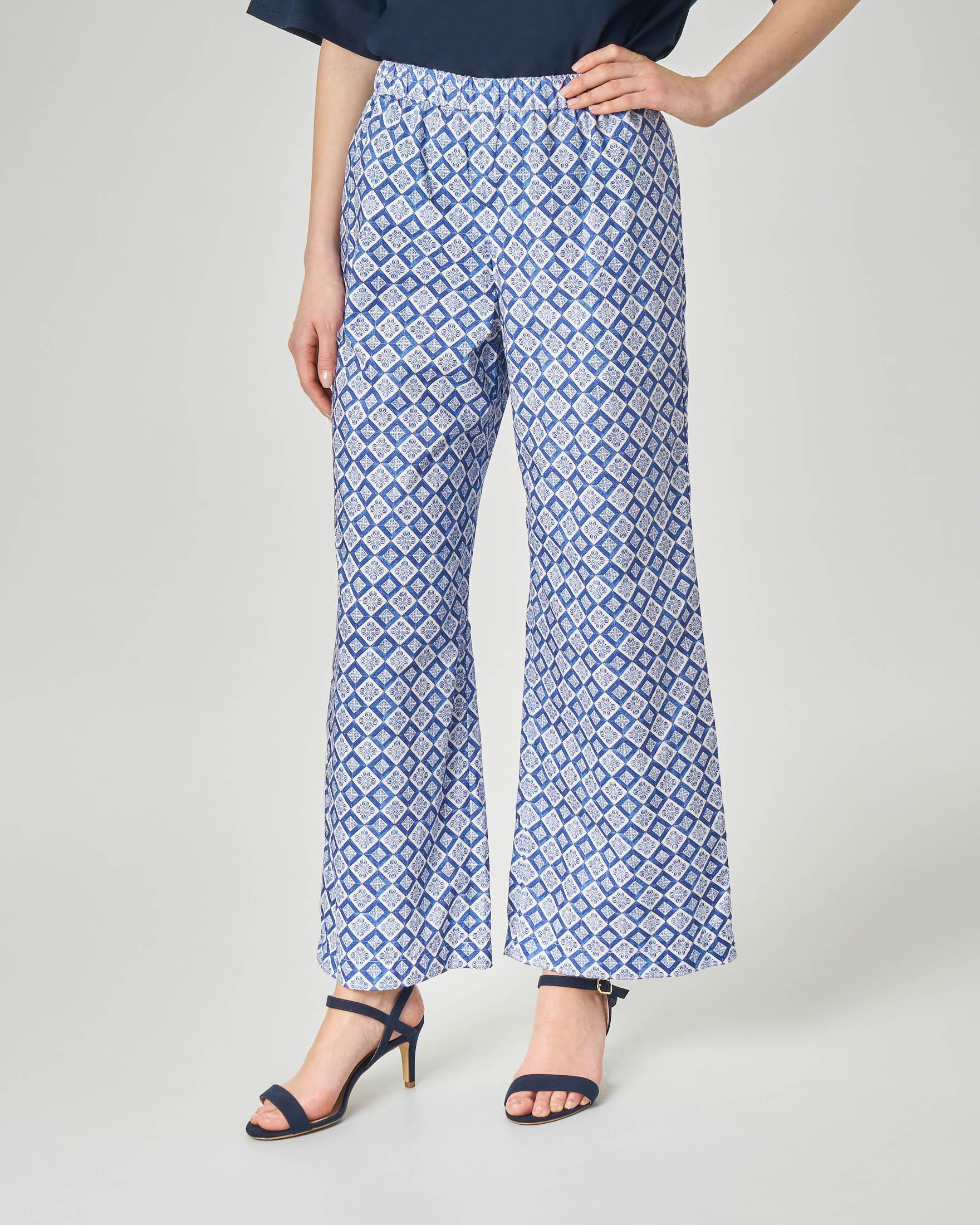 Pantaloni culotte in cotone a stampa geometrica bianca blu