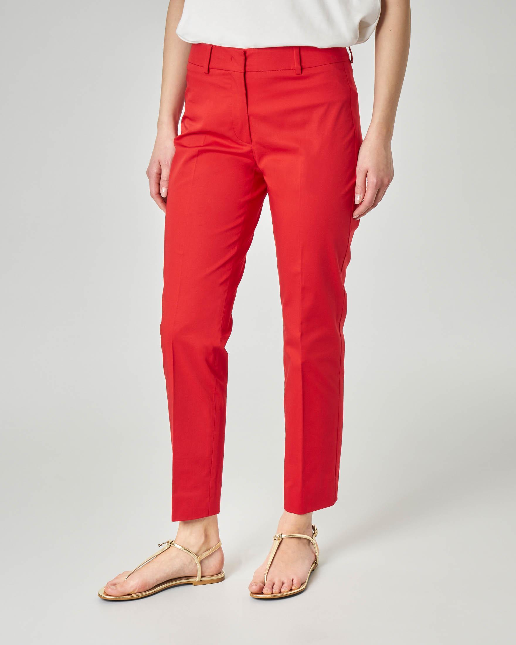 Pantaloni straight rossi in cotone elasticizzato