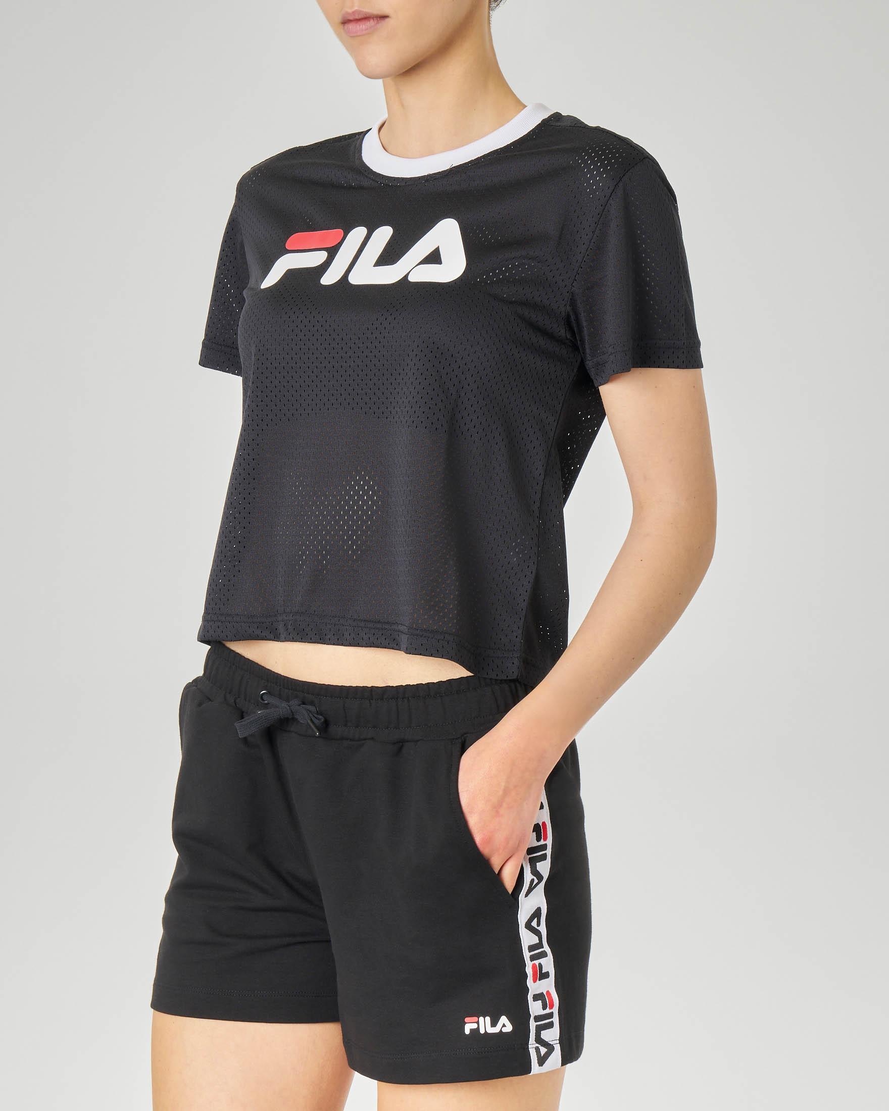 T-shirt cropped nera con motivo trasforato e logo