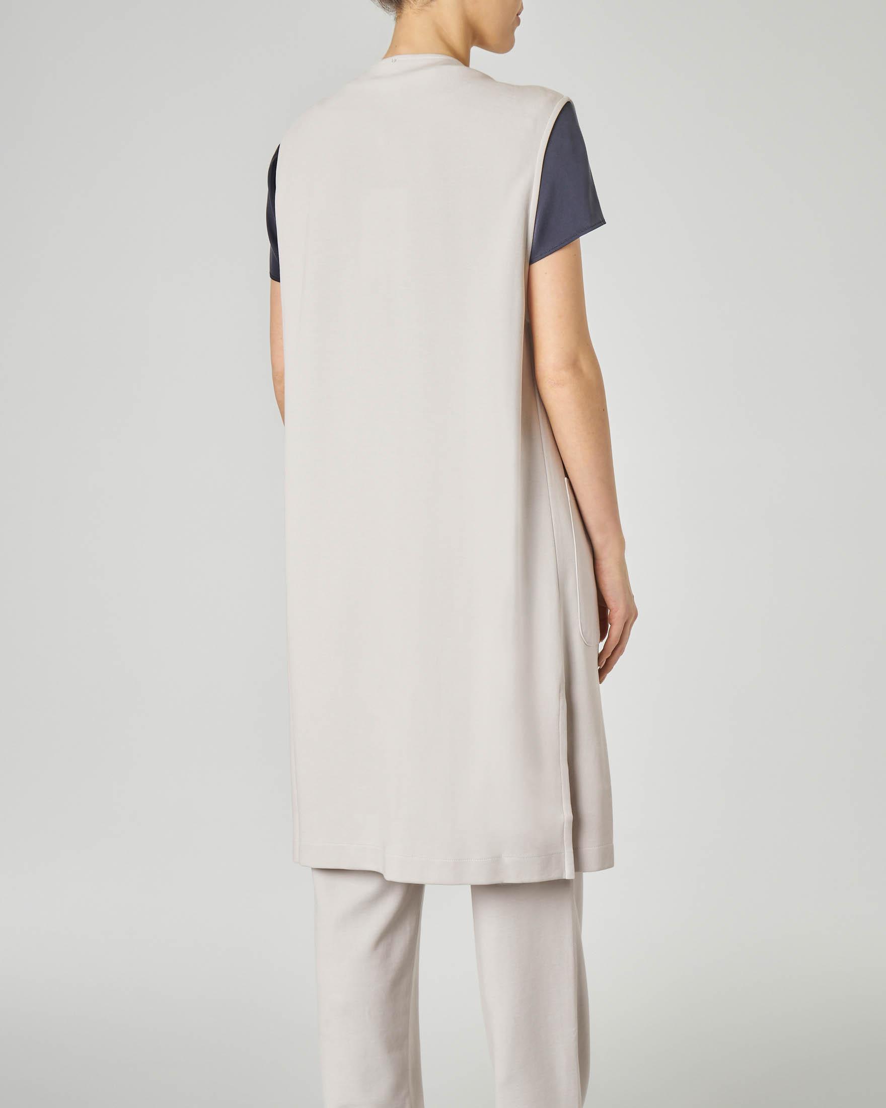 Gilet lungo senza bottoni in jersey di cotone color ghiaccio