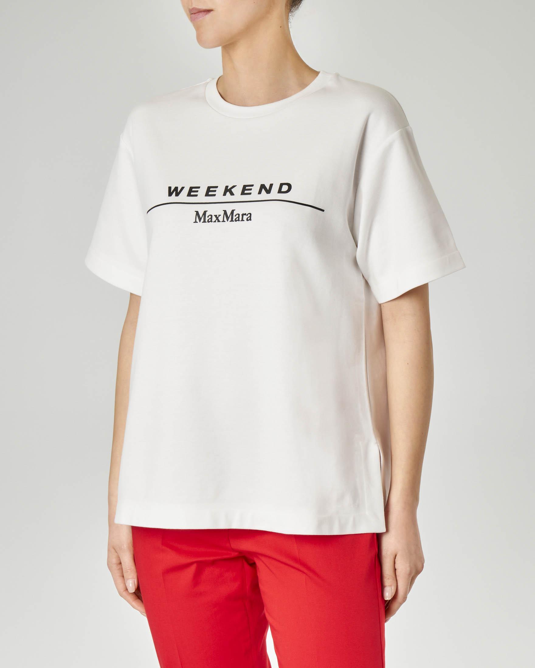 T-shirt bianca in cotone accoppiato con scritta logo a contrasto