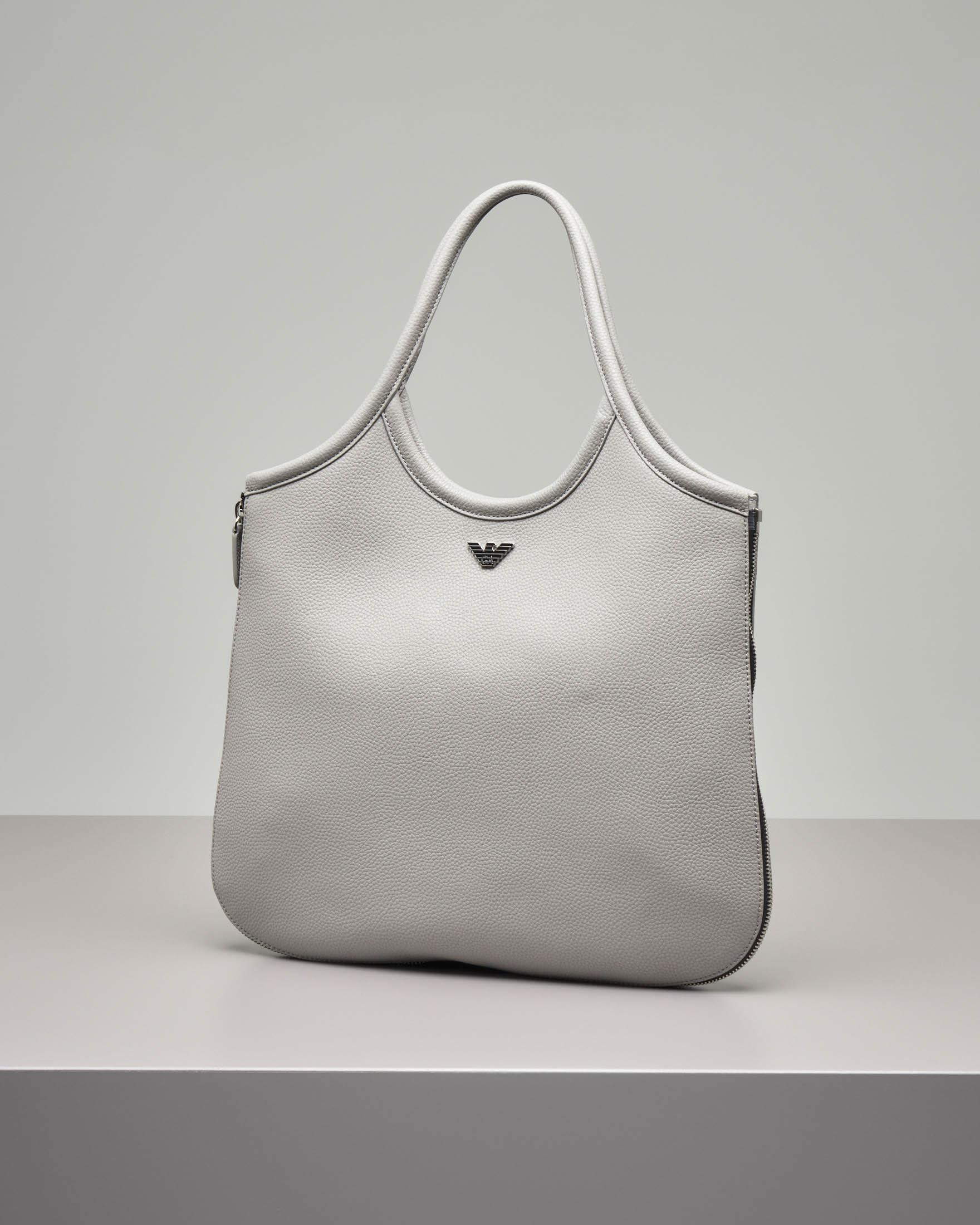 Borsa hobo in pelle color grigio