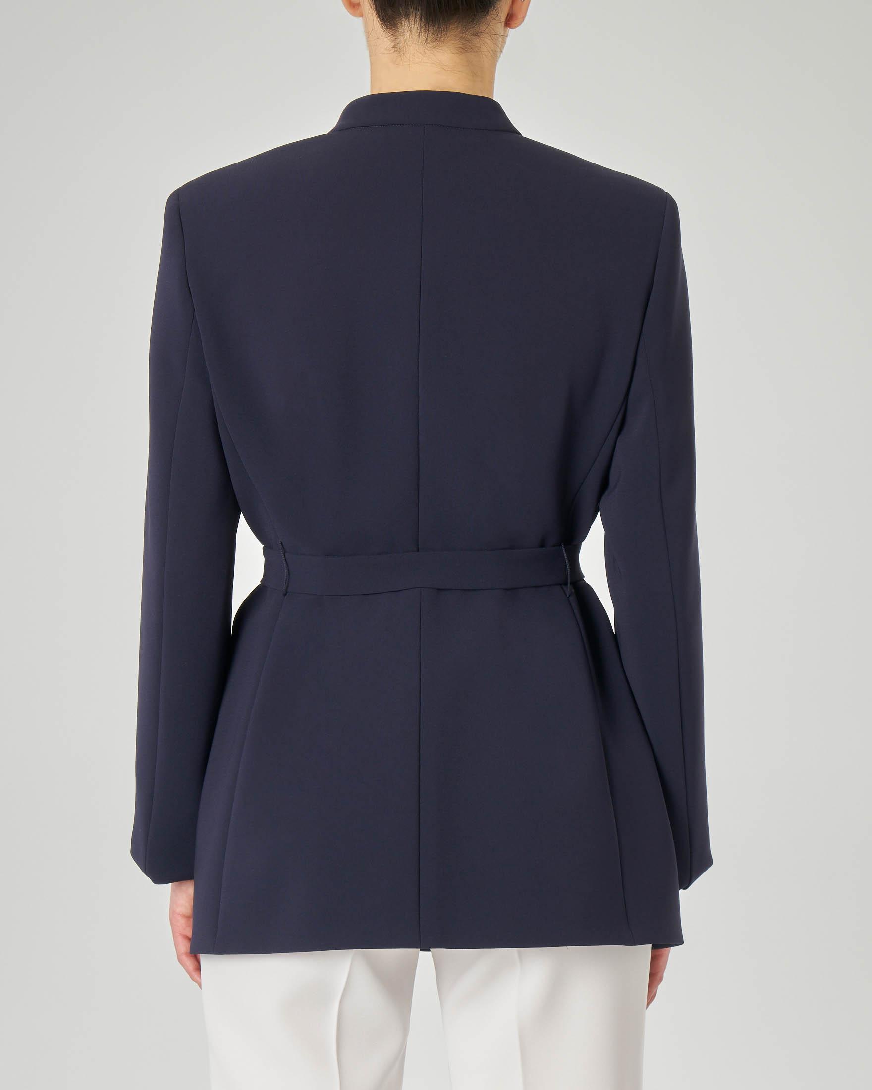 Giacca blu in cady con colletto alla coreana e cintura in vita