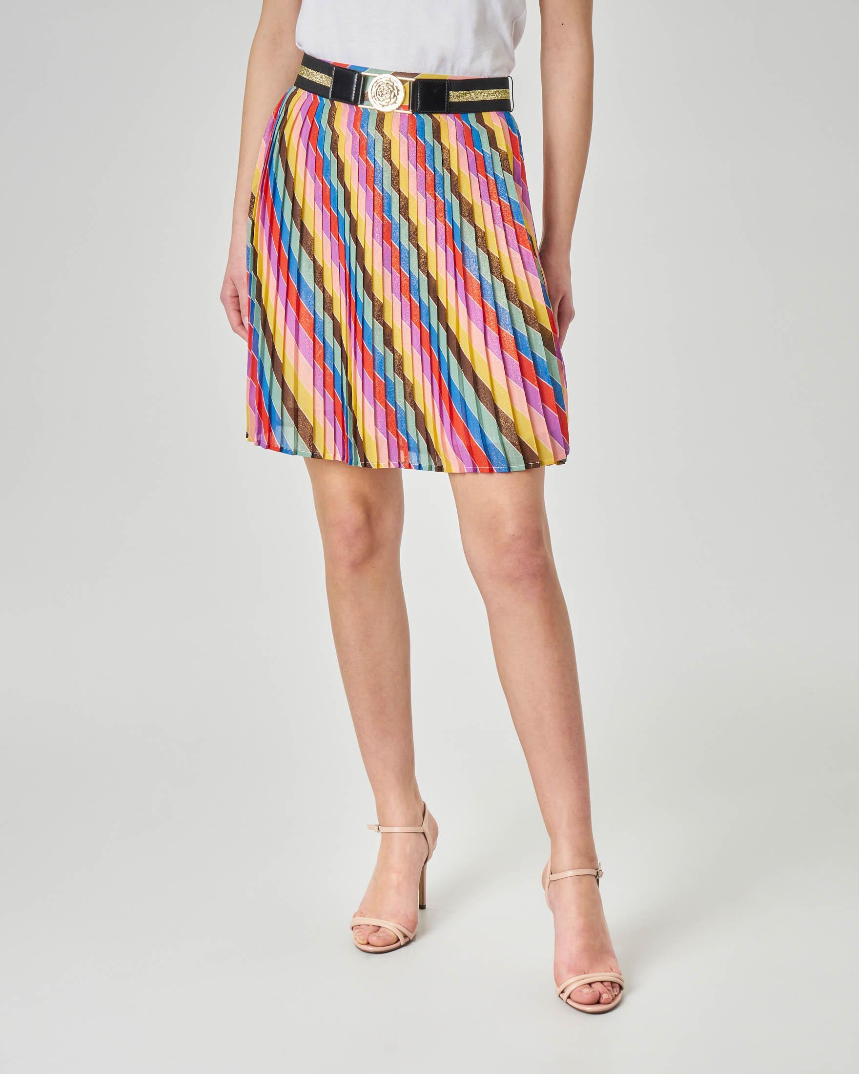 Minigonna plissè multicolor in lurex con cintura con fibia oro
