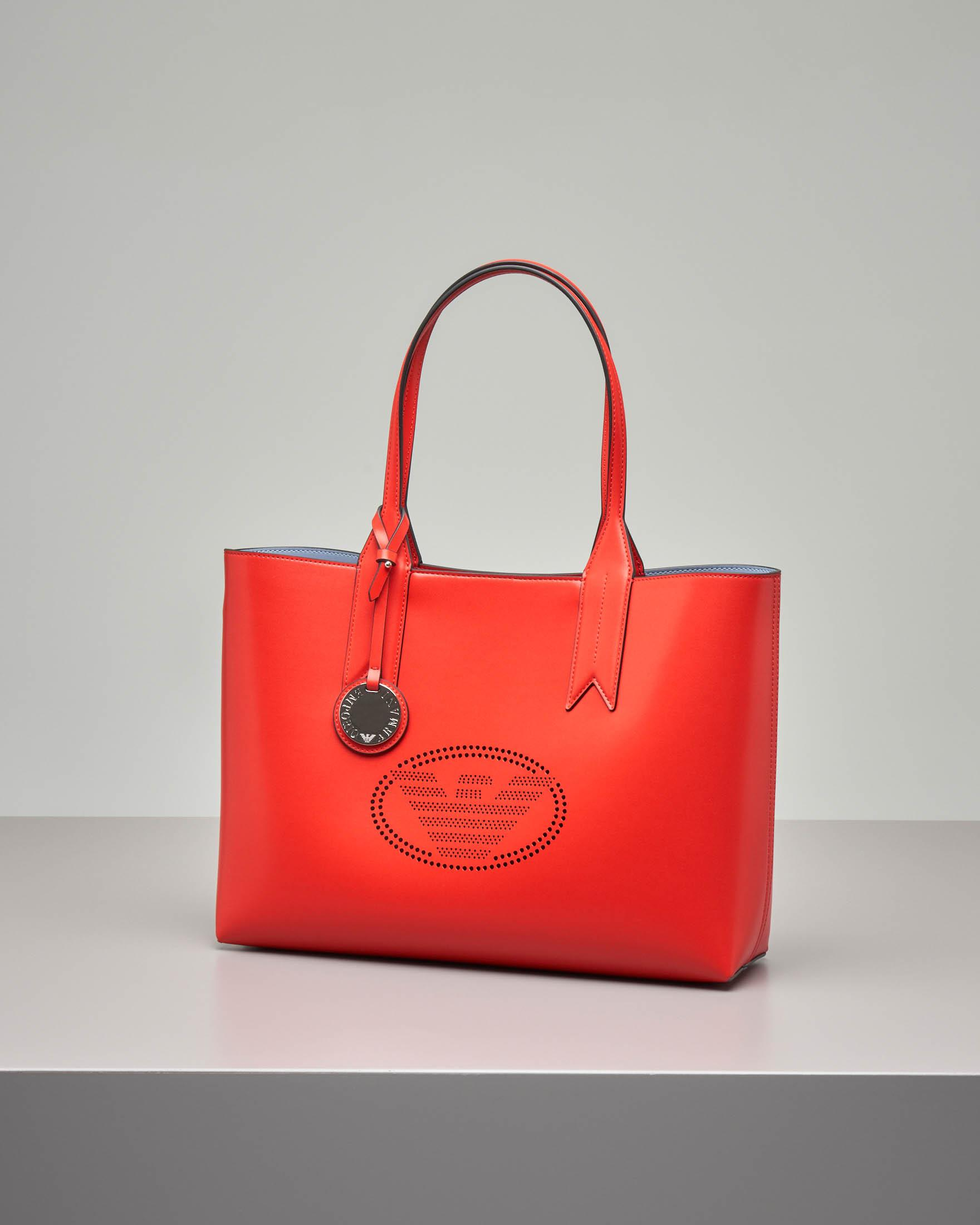 Shopping bag in ecopelle liscia rossa con logo forato
