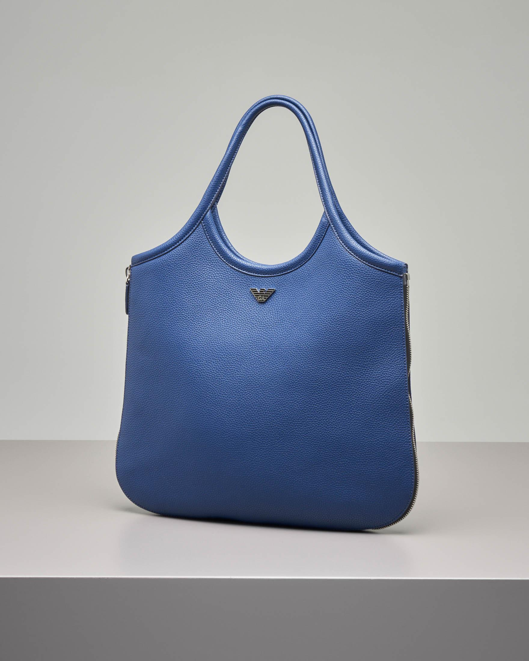 Borsa hobo in pelle color blu china