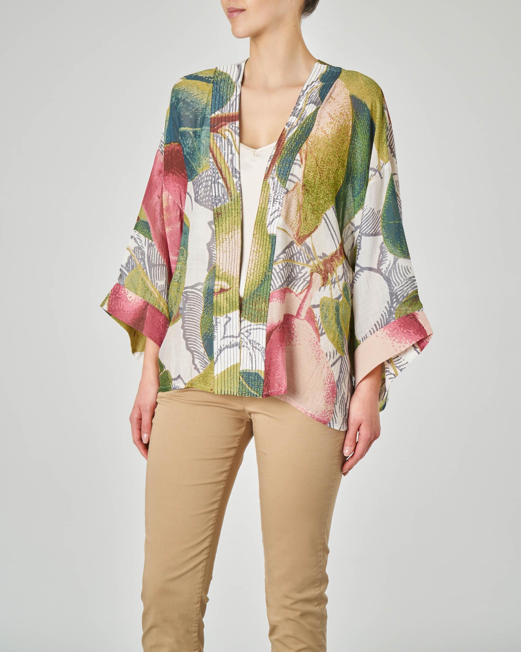 Kimono corto in viscosa misto modal color crema con stampa motivo pere e mele