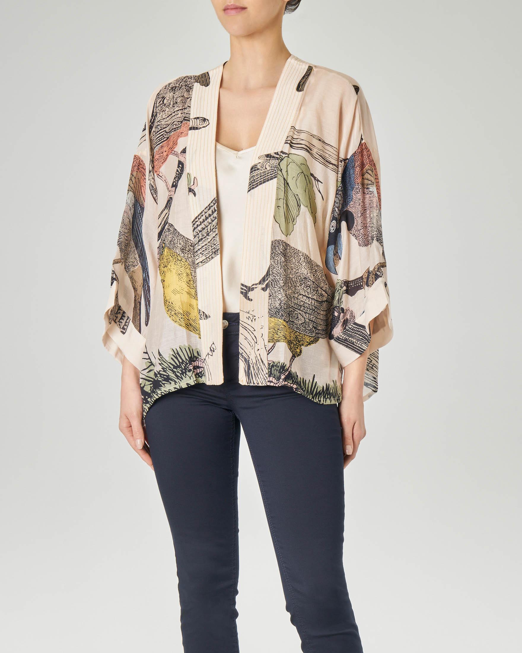 Kimono corto in viscosa misto modal color cipria con stampa uccelli