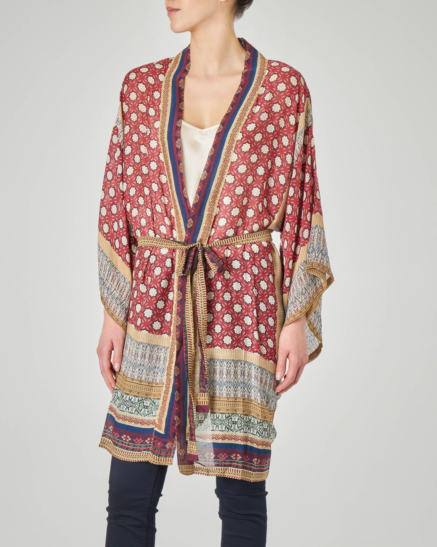 Kimono lungo bordeaux in viscosa misto modal con cintura e stampa stile moresco